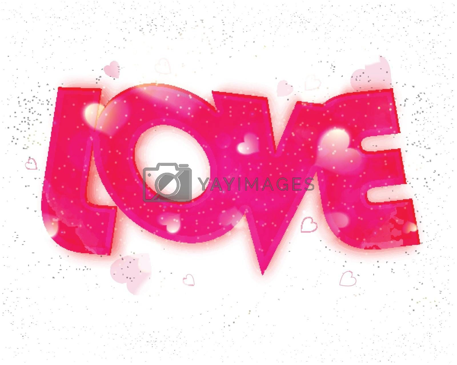 Creative Pink Text Love with Hearts for Valentine's Day celebration.