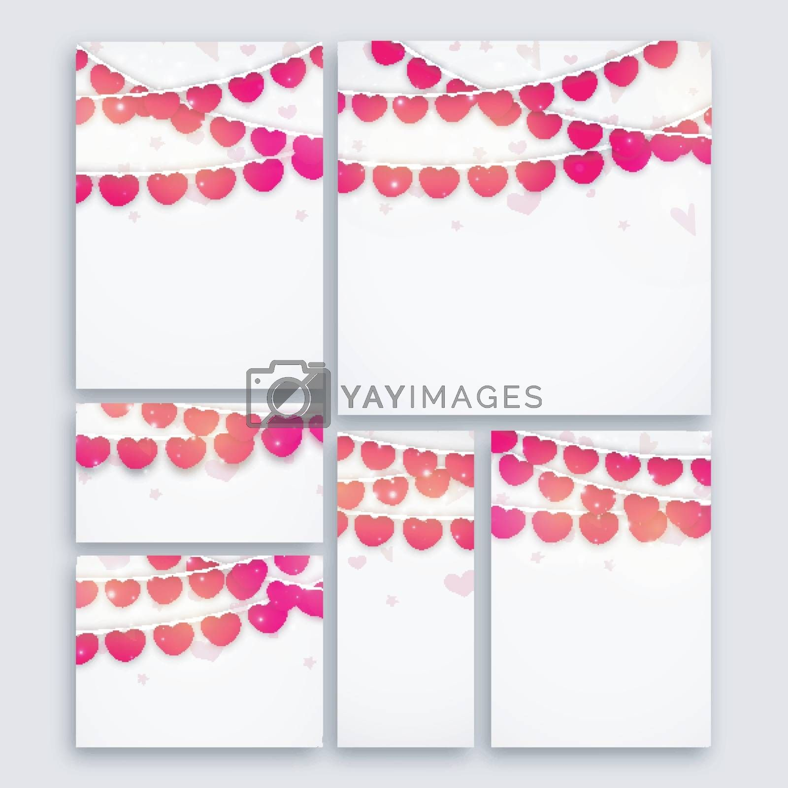 Set of Greeting cards, Invitations, Banners or Post with colorful Hearts decoration for Happy Valentine's Day Celebration.