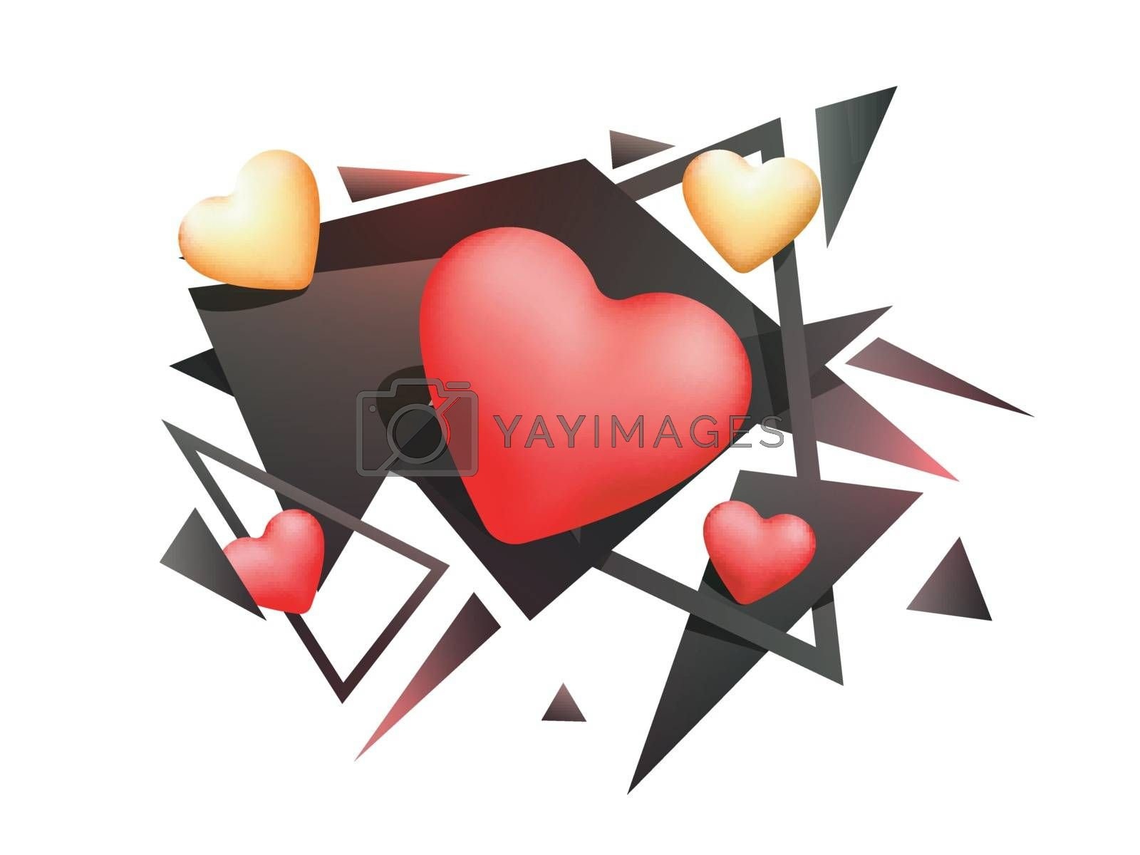 Glossy creative Hearts with abstract design for Happy Valentine's Day Celebration.