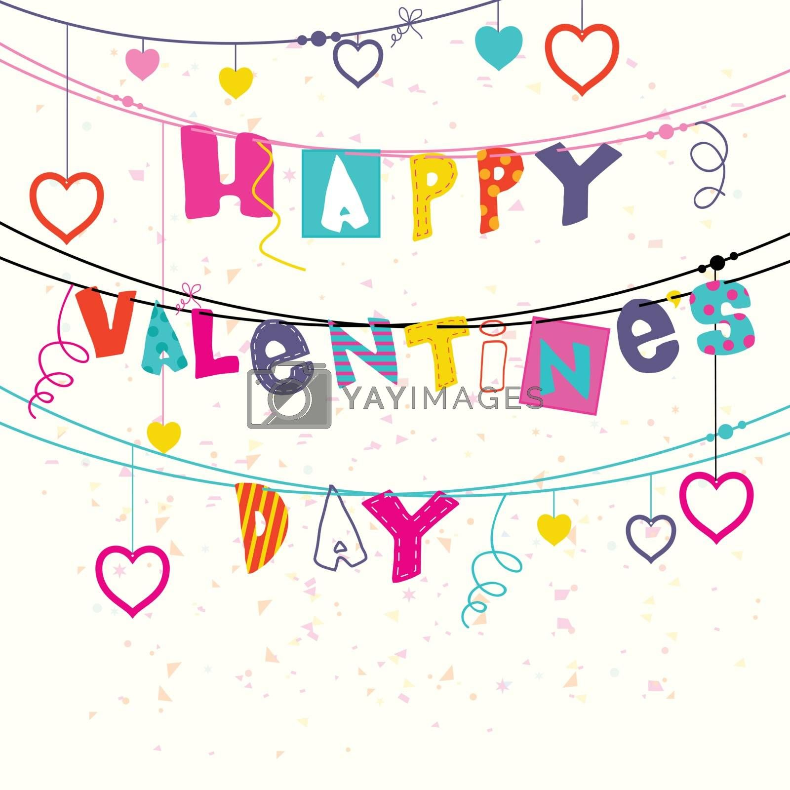 Elegant Greeting Card design with Colorful Text Happy Valentine's Day and hanging hearts decoration.