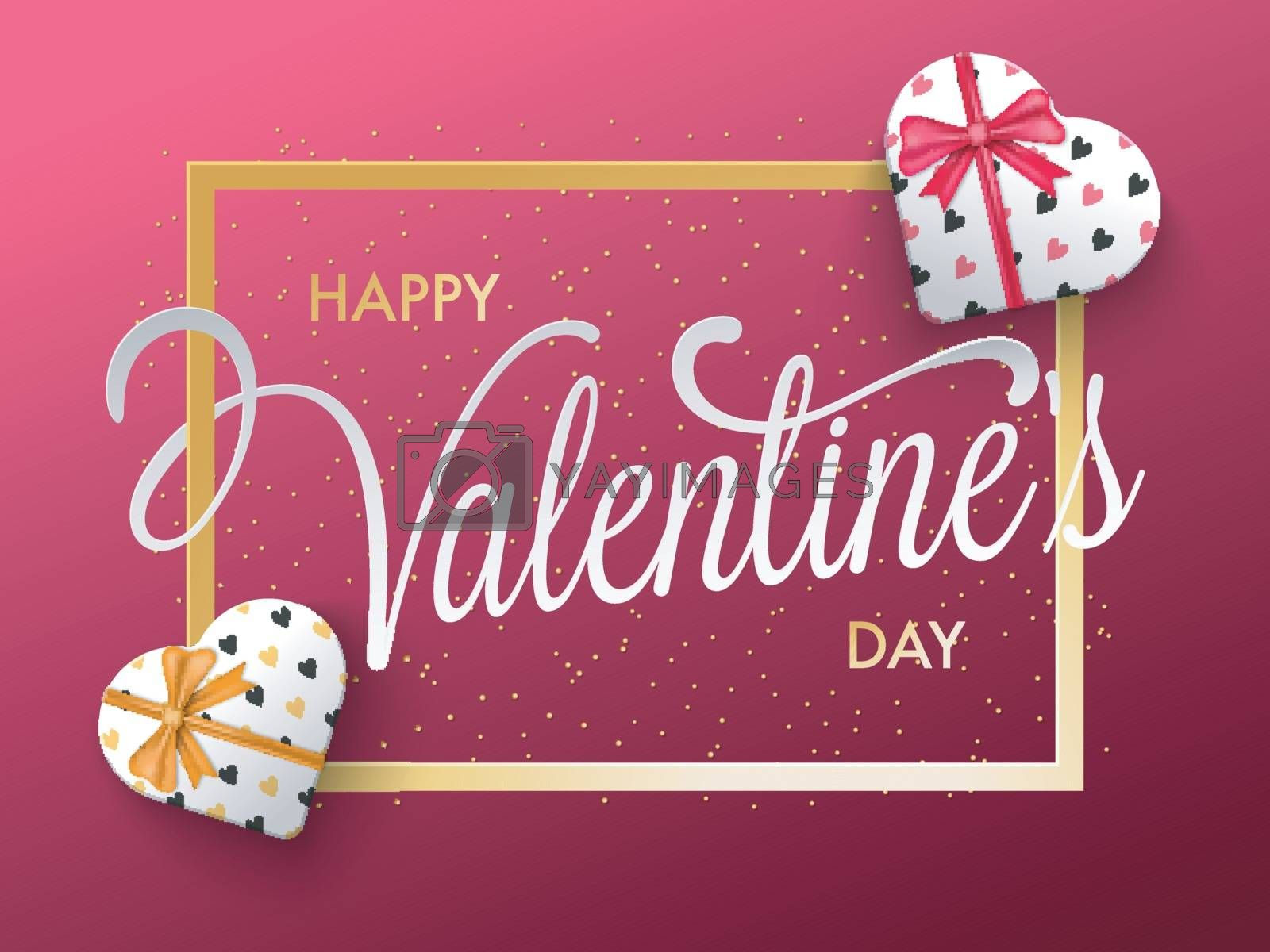 Happy Valentine's Day celebration greeting card design with creative hearts decoration.
