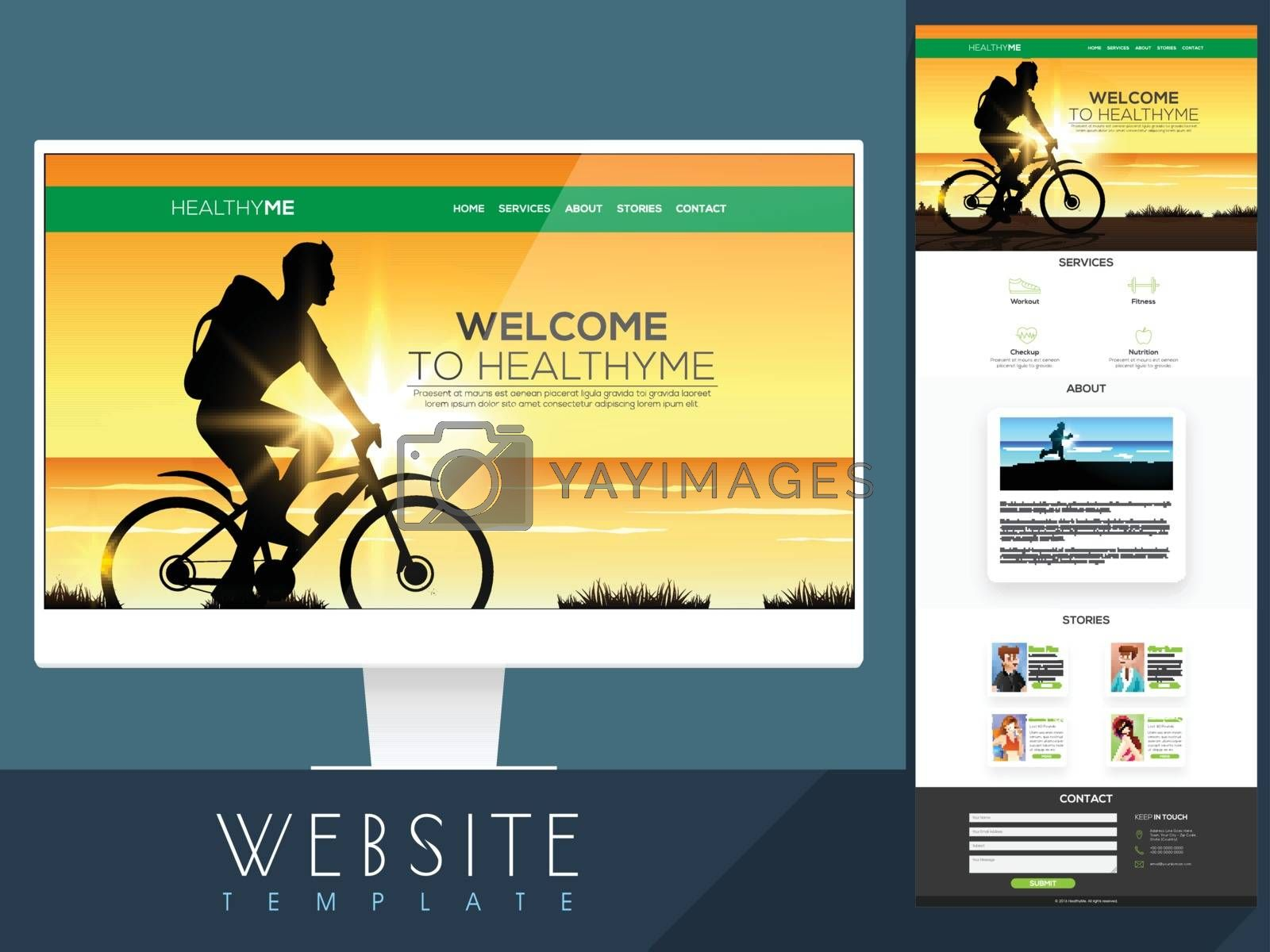 One Page Website Template design with desktop presentation for Healthy Life or Healthcare concept.