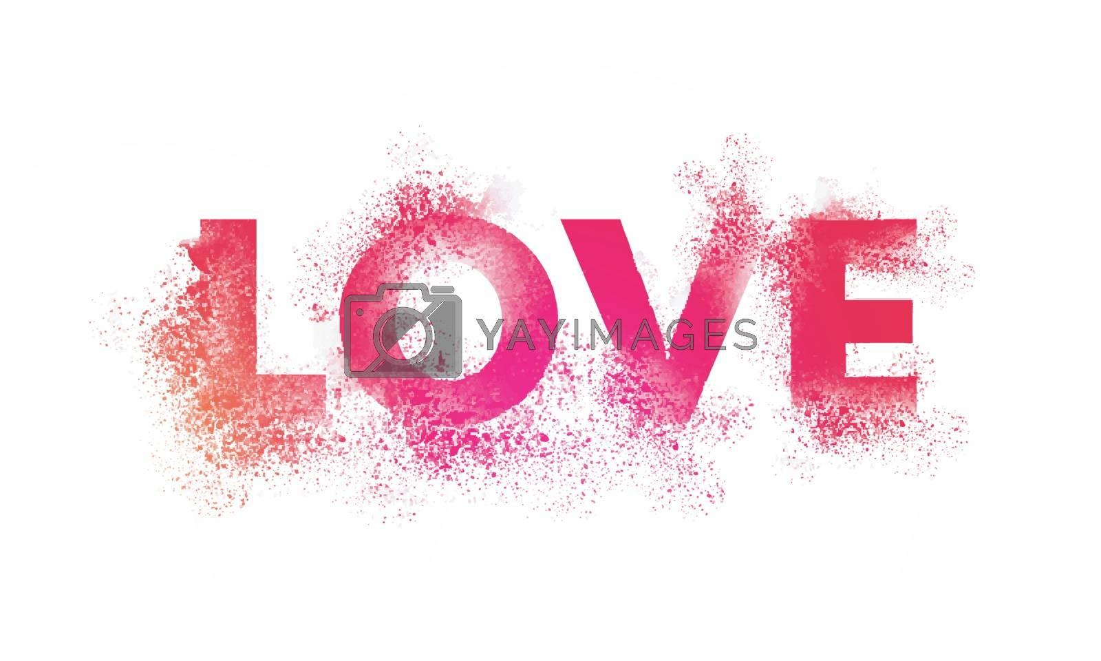 Stylish Text Love with splash for Happy Valentine's Day Celebration.