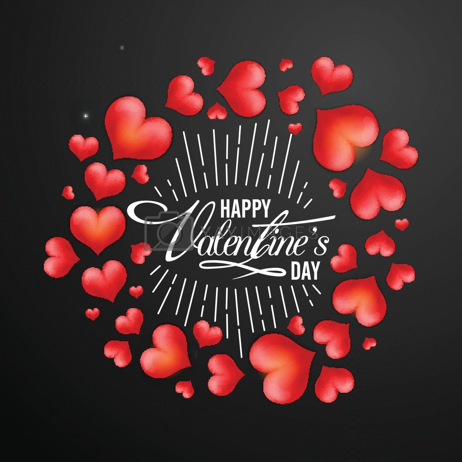 Glossy elegant Red Hearts decorated beautiful greeting card for Happy Valentine's Day Celebration.