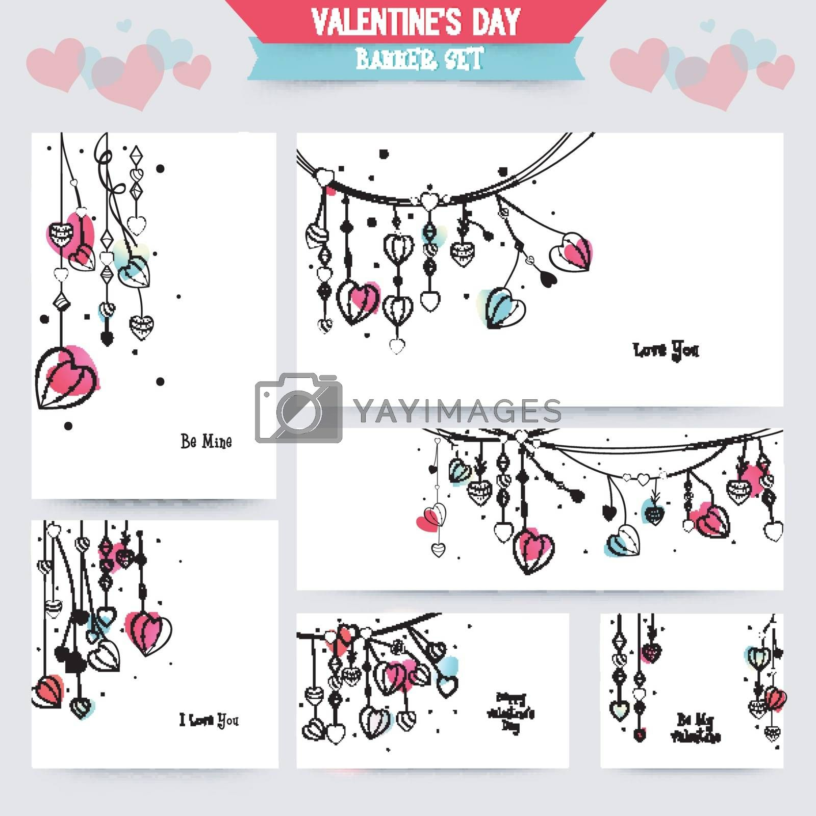 Collection of beautiful banners, cards or invitation with Hearts decoration for Happy Valentine's Day Celebration.