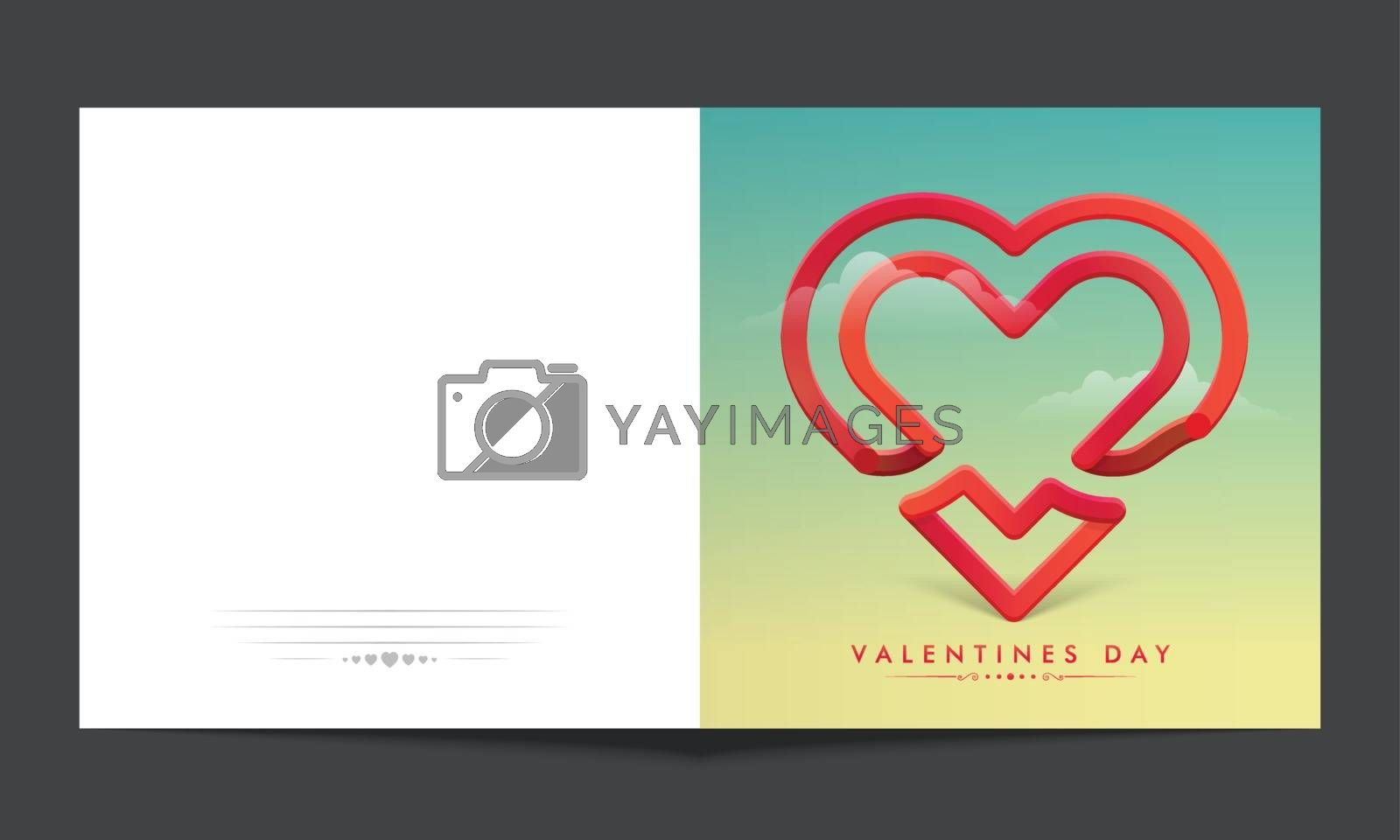 Greeting card with creative Heart Shape for Happy Valentine's Day Celebration.