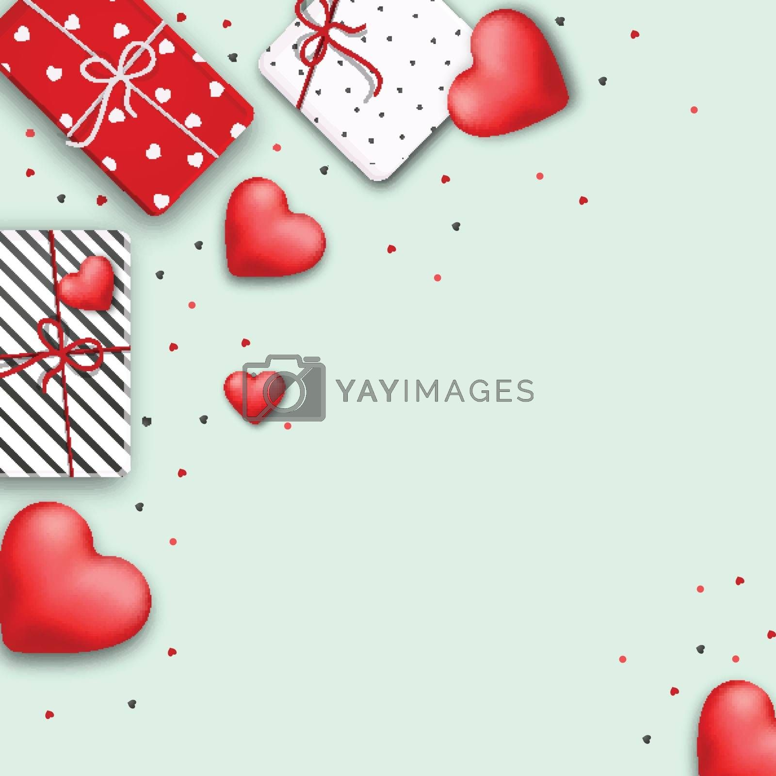 Happy Valentine's Day celebration background decorated with wrapped gift boxes and glossy red hearts.