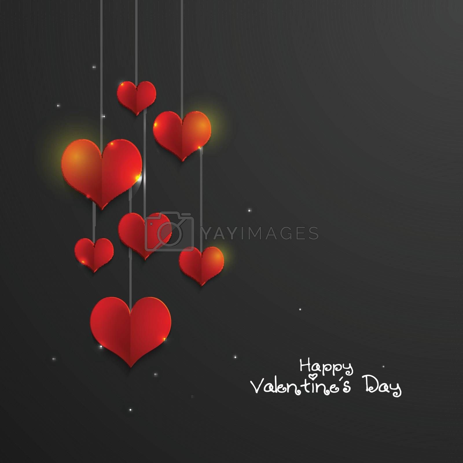 Shiny Red paper Hearts decorated greeting card for Happy Valentine's Day Celebration.