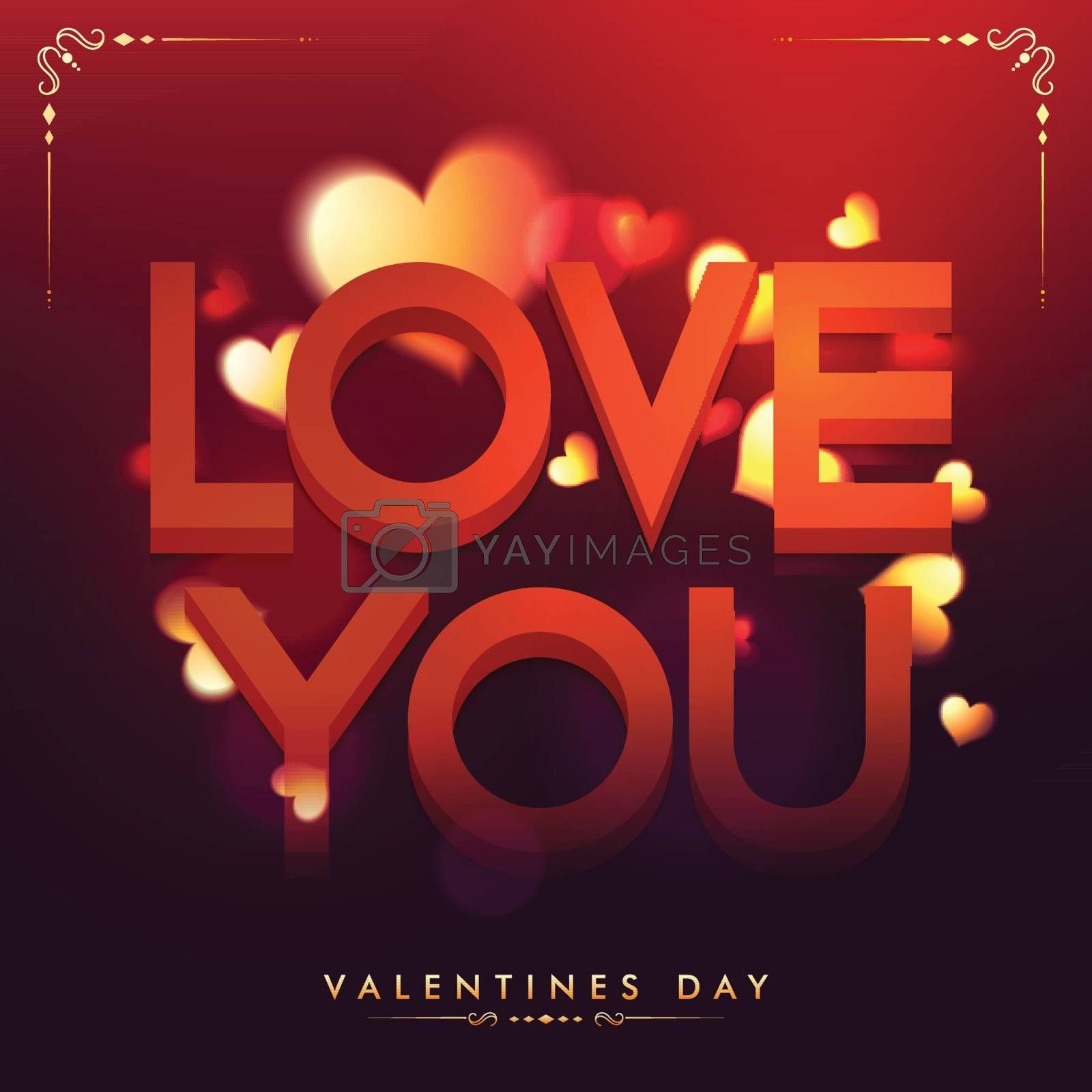 3D Text Love You on Hearts decorated glossy background, Beautiful greeting card for Happy Valentine's Day Celebration.