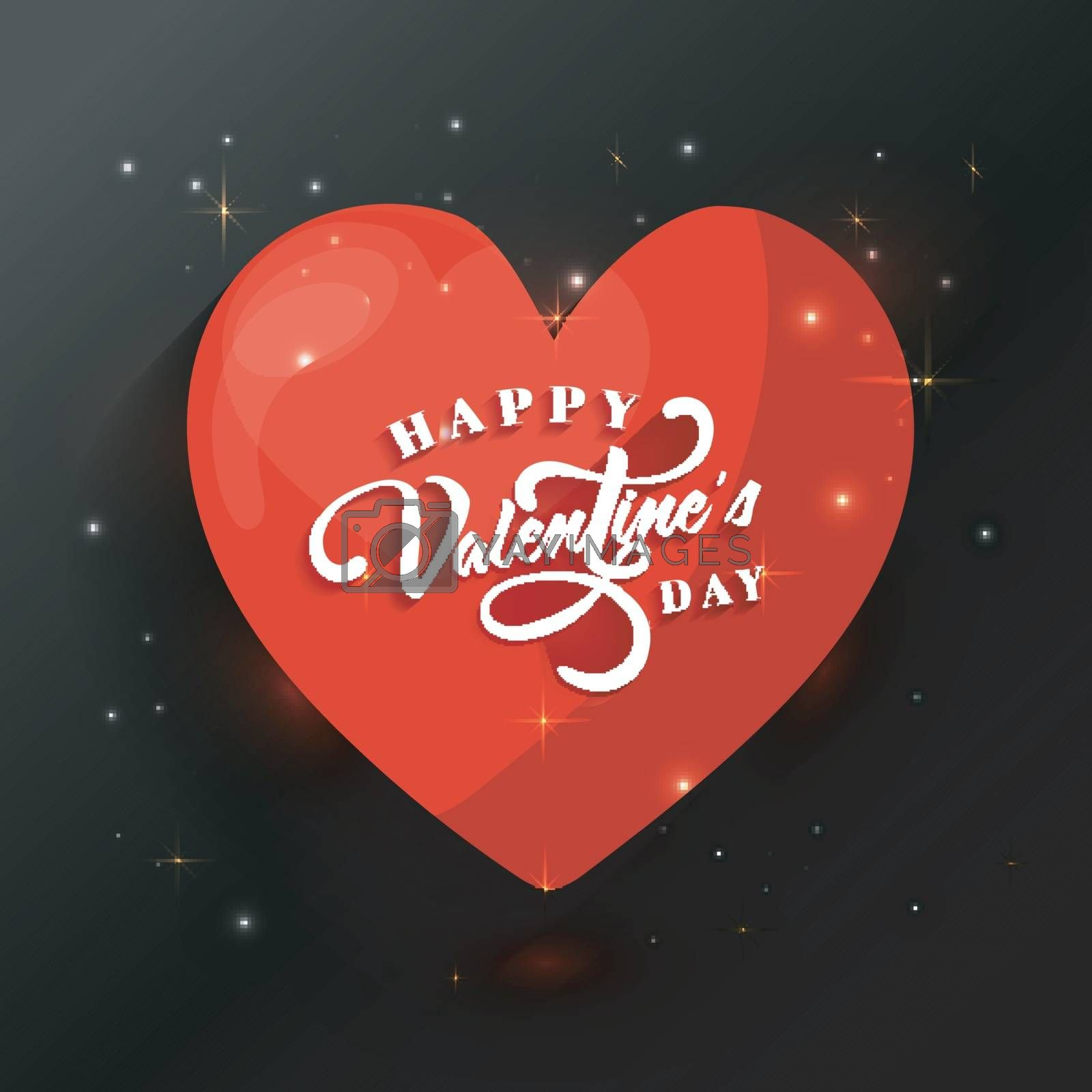 Greeting card design with creative Heart on shiny background for Happy Valentine's Day celebration.