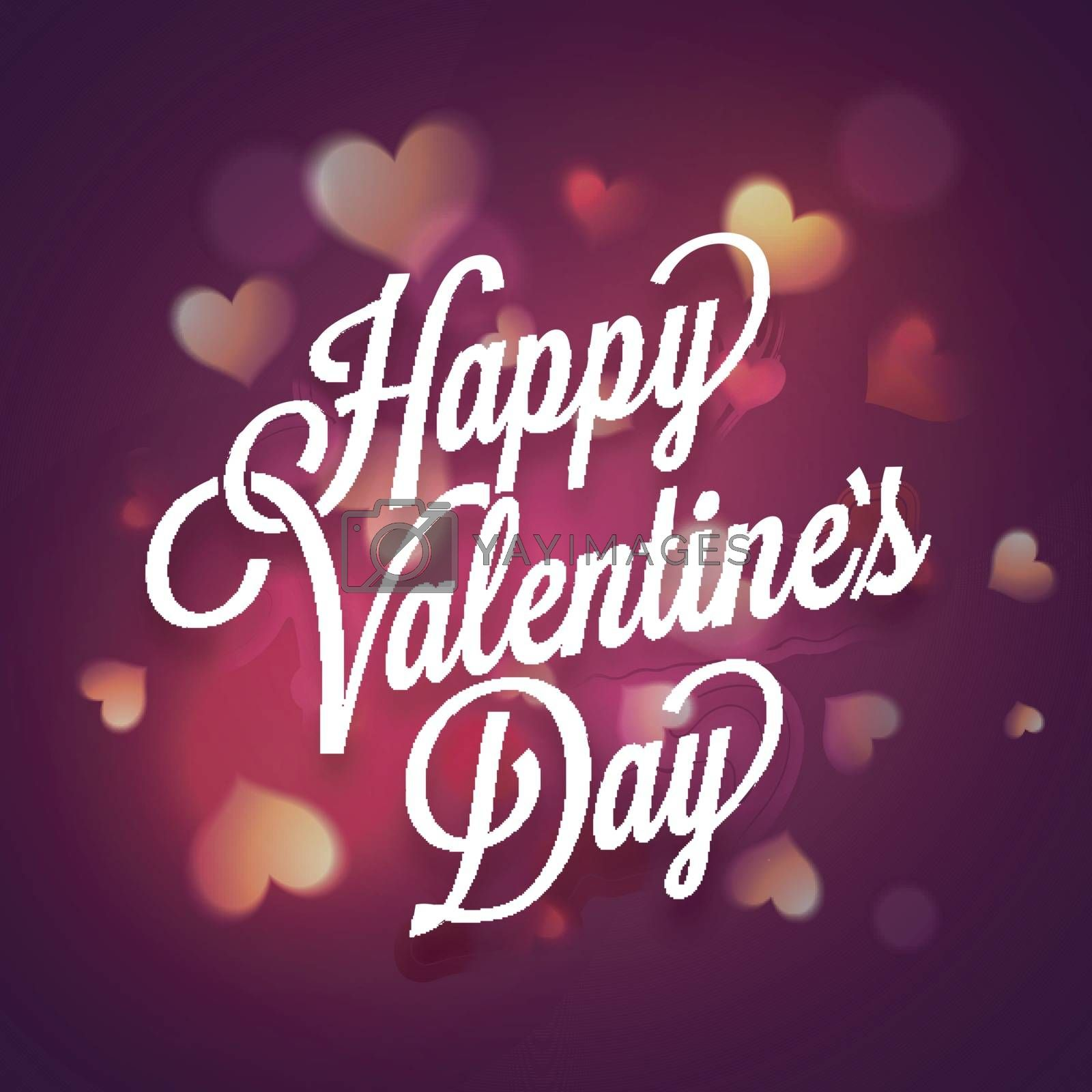 Elegant Happy Valentine's Day Typographical Background decorated by glossy glowing Hearts.