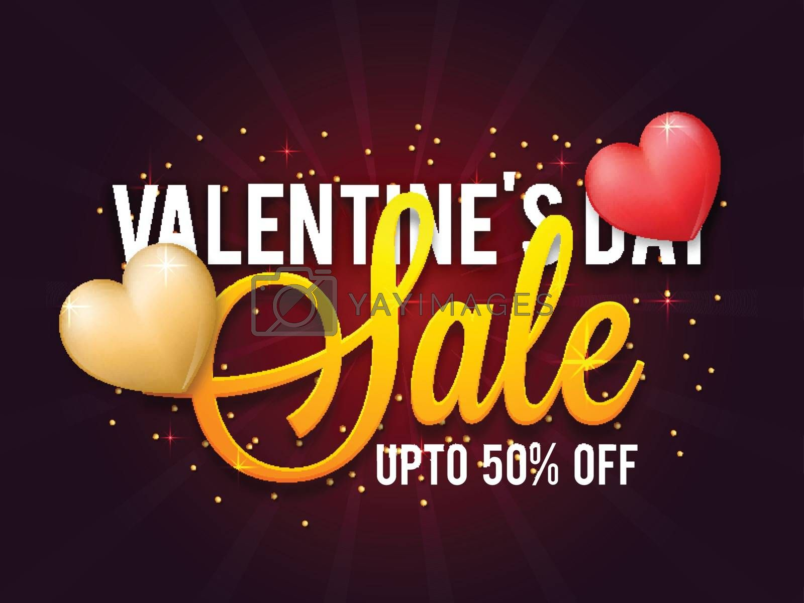 Valentine's Day Sale with upto 50% Off. Glossy Hearts decorated Poster, Banner or Flyer design.
