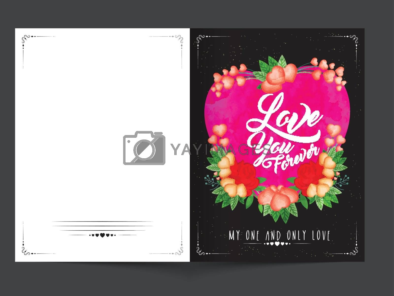 Beautiful greeting card with creative pink Heart and flowers for Happy Valentine's Day Celebration.