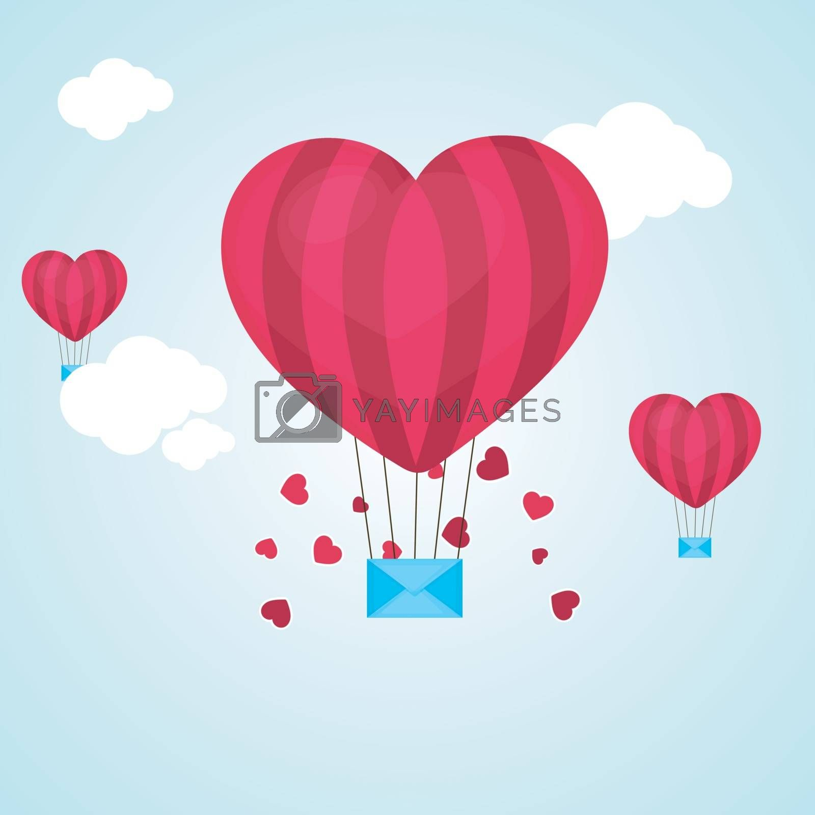 Creative Heart shaped Hot Air Balloon with Envelope flying in the sky for Happy Valentine's Day celebration.