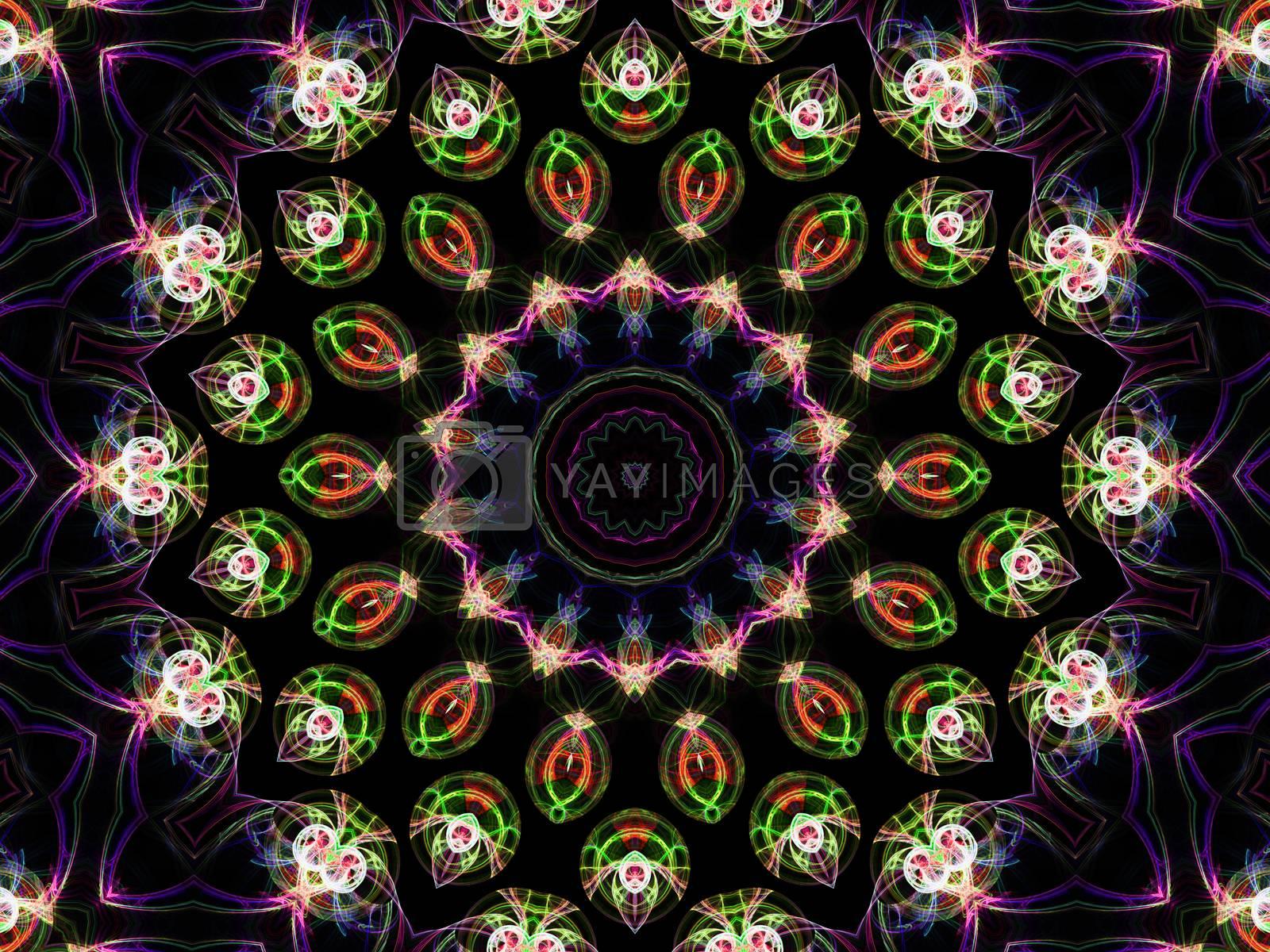 Colorful fractal kaleidoscope, digital artwork for creative graphic design by Sem007