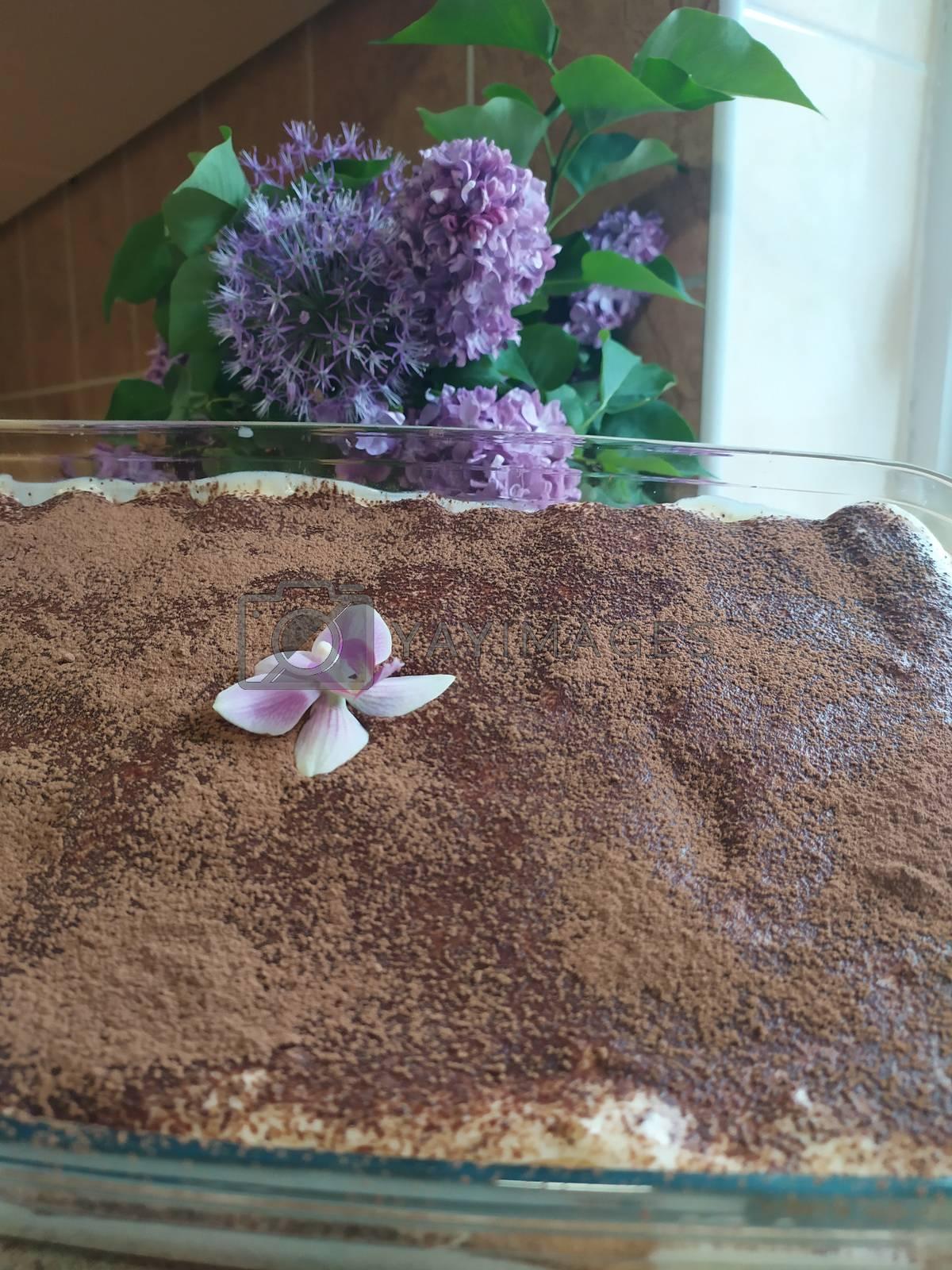 Tiramisu cake in glass blouse. Magnolia and lilac decoration.
