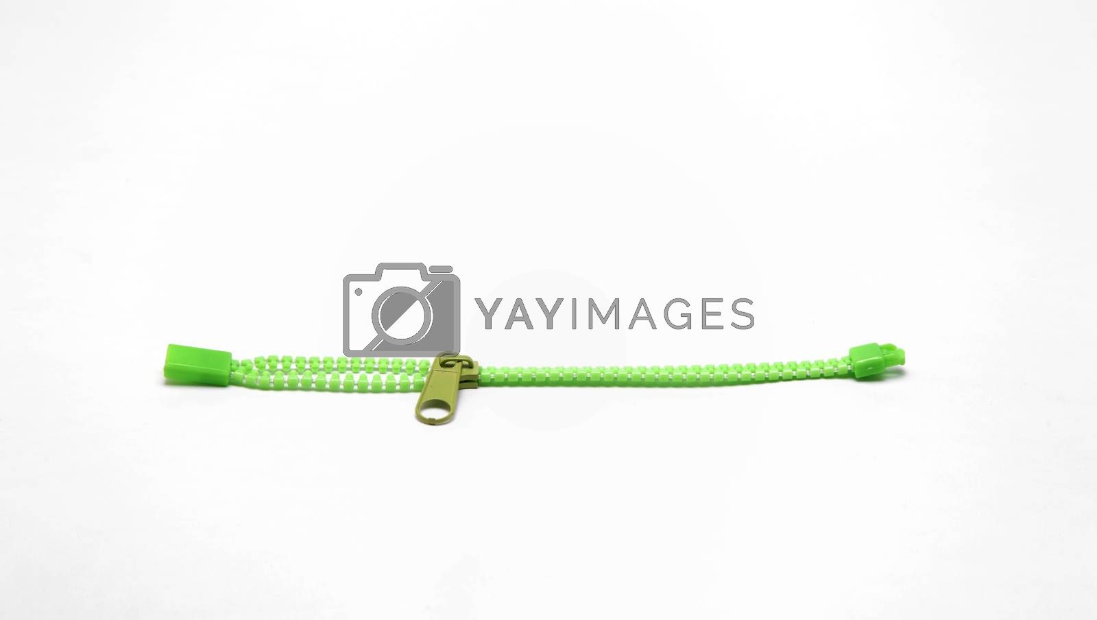 green zipper isolated on white