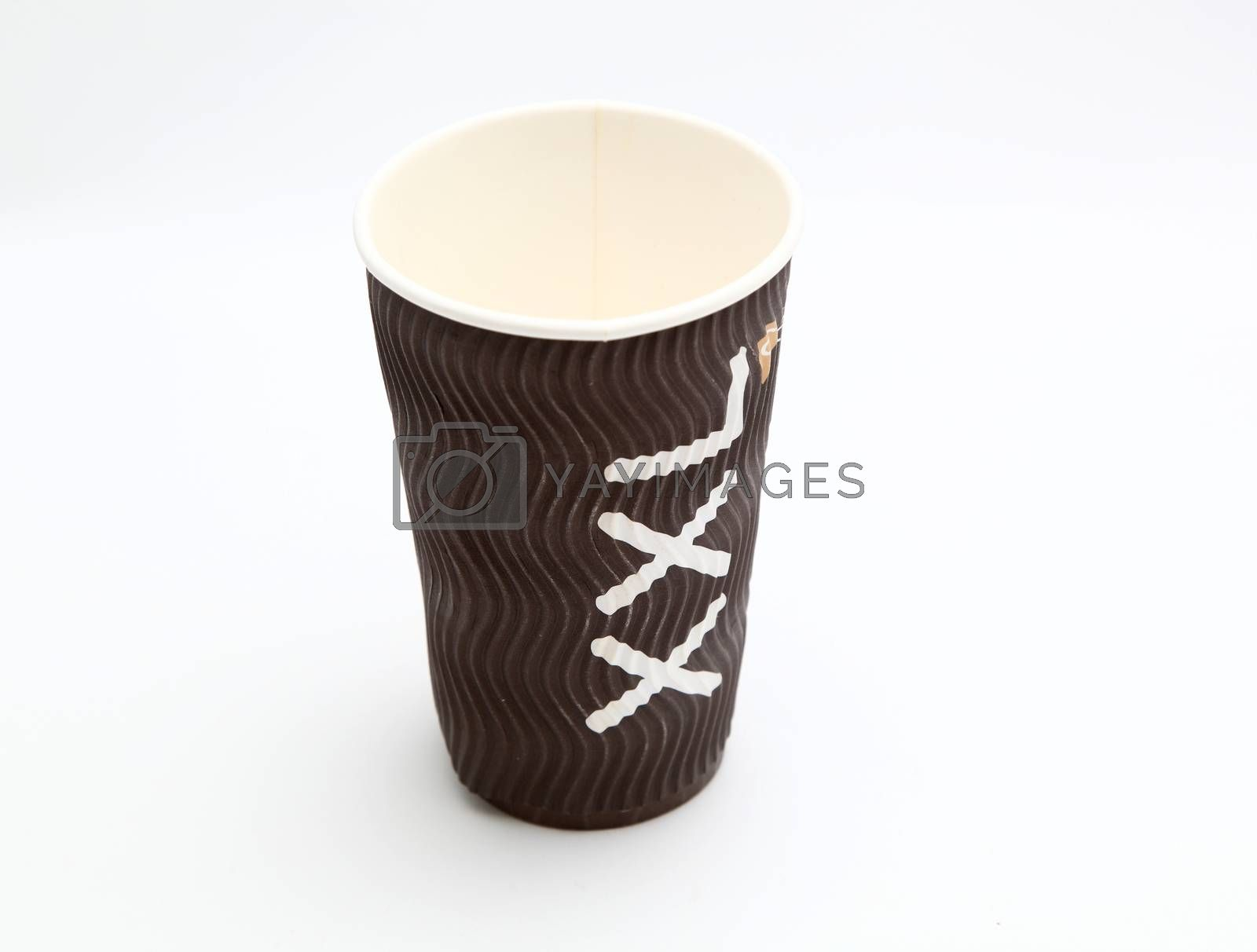 cardboard cup on white background