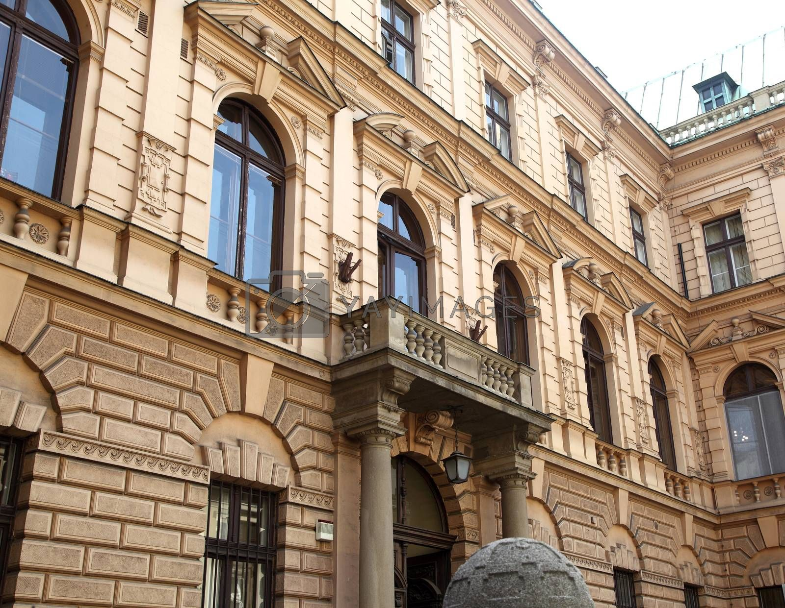 Pictured background of an old building in Krakow