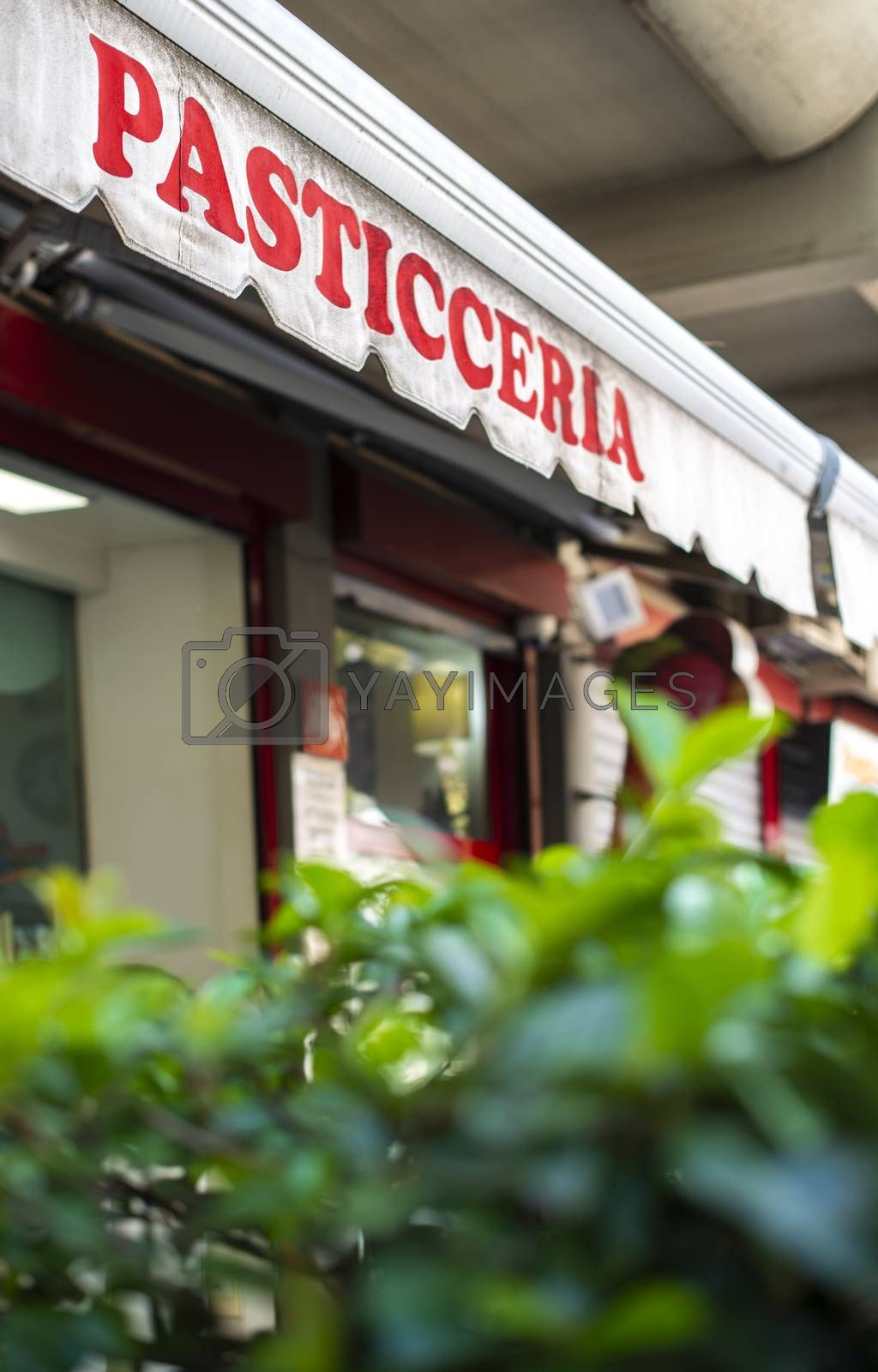 Text pasticceria on sunblind. Italian pastry shop. Facade on pastry shop.  Green foliage in front of cafe and sweets shop.