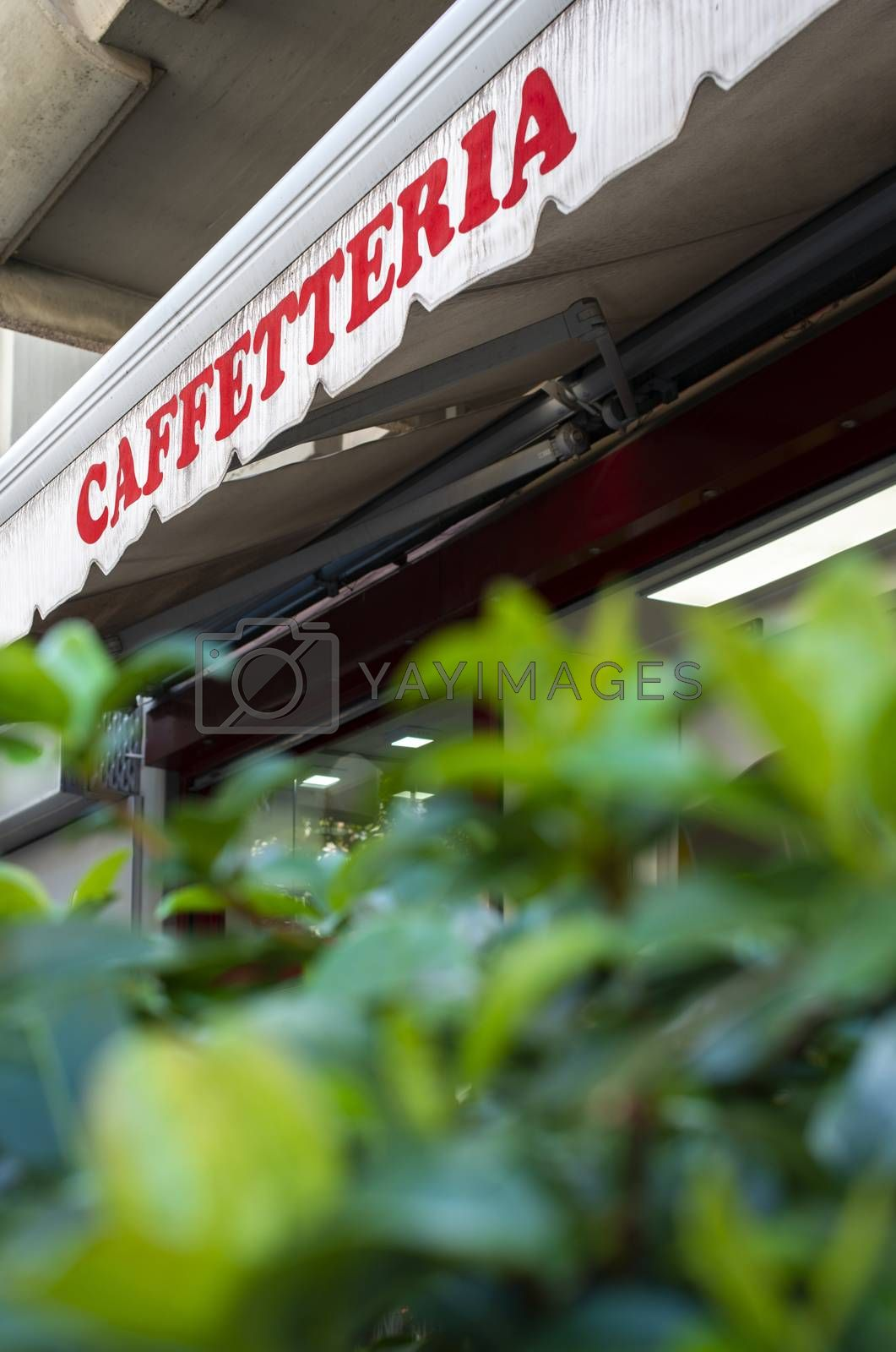 Text caffetteria on sunblind. Italian coffee shop. Facade on coffee shop. Green foliage in front of cafe and sweets shop.