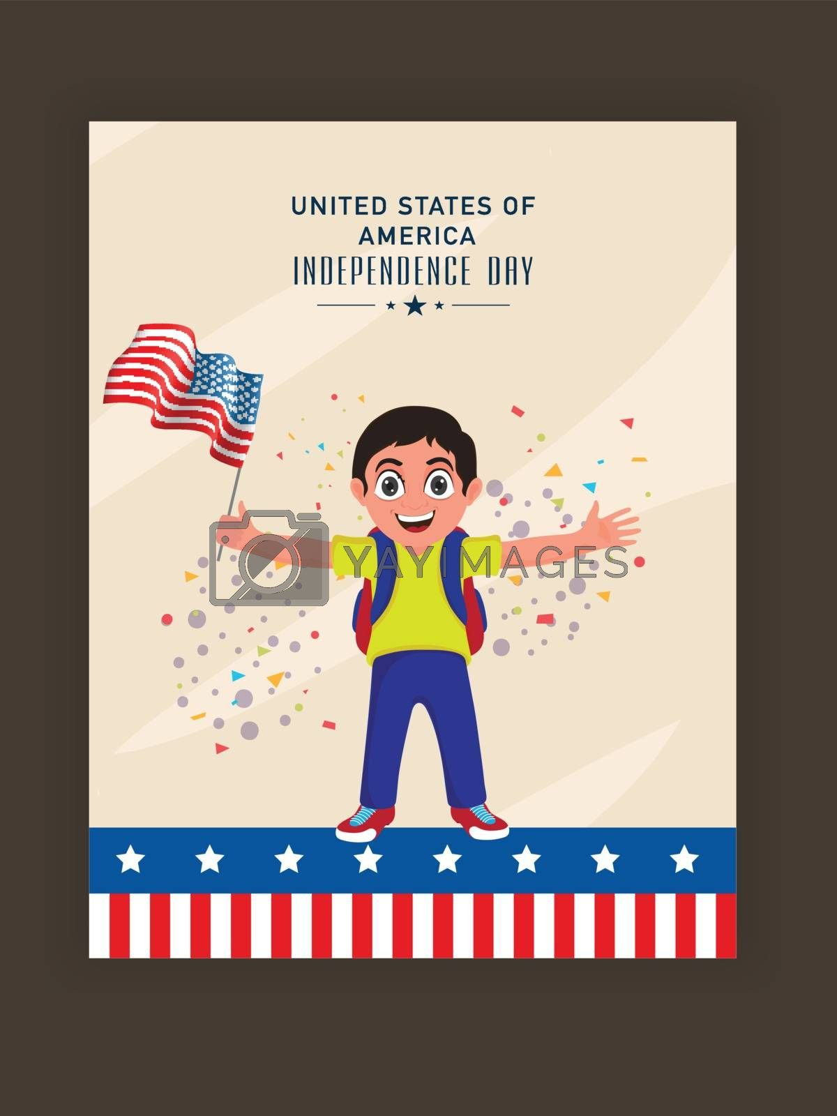 4th of July Flyer Design, with kid holding flag. by aispl