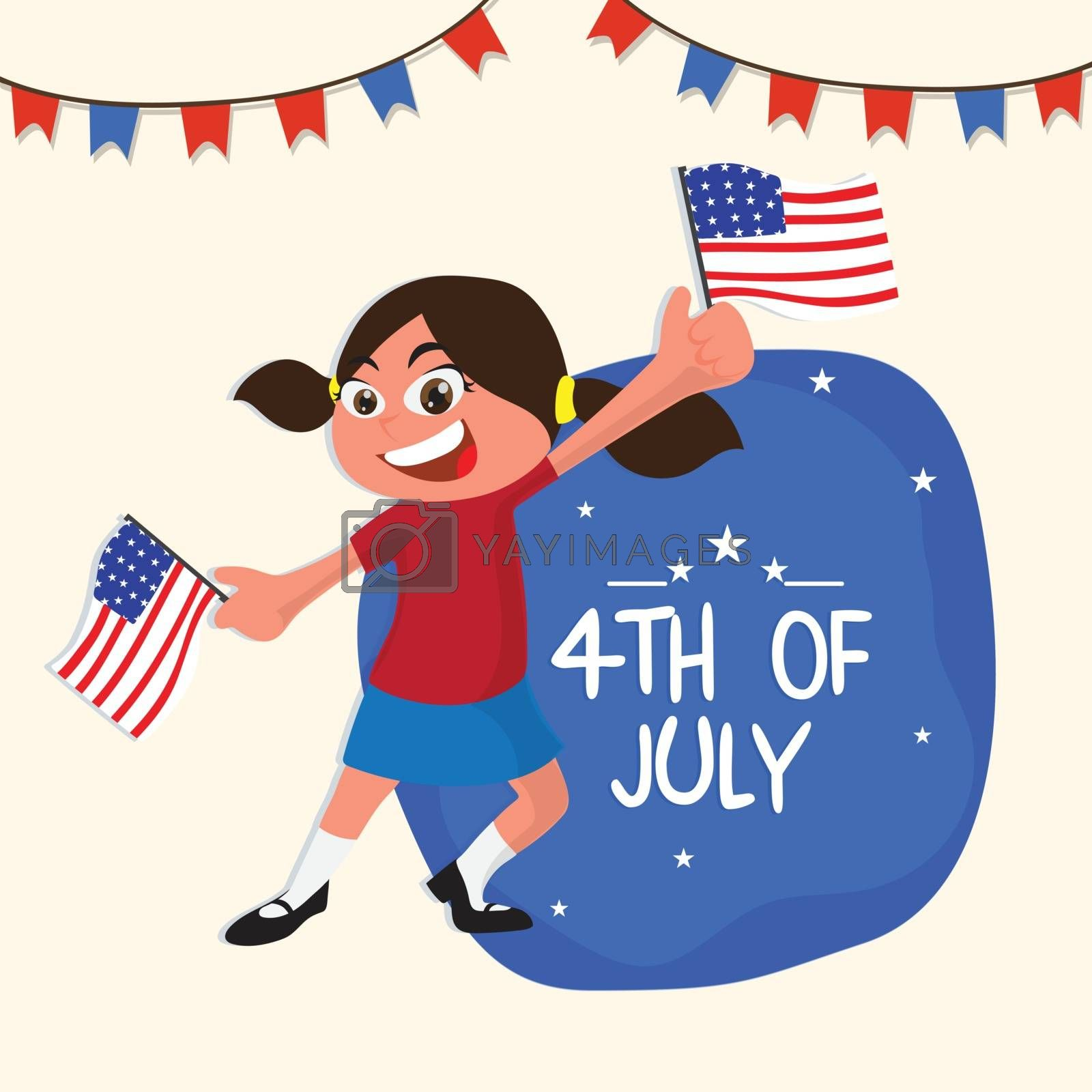4th of July Flyer Design, with kid holding flag.