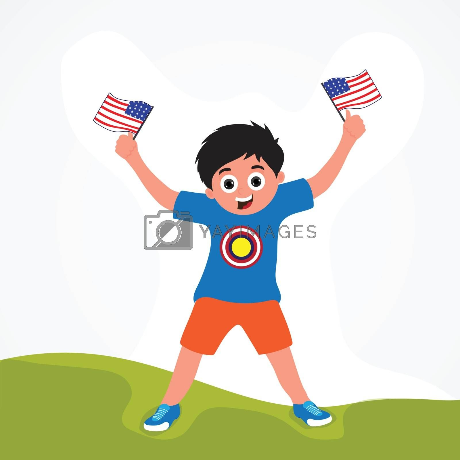 4th of July Flyer Design, with kid holding flag in both hands.