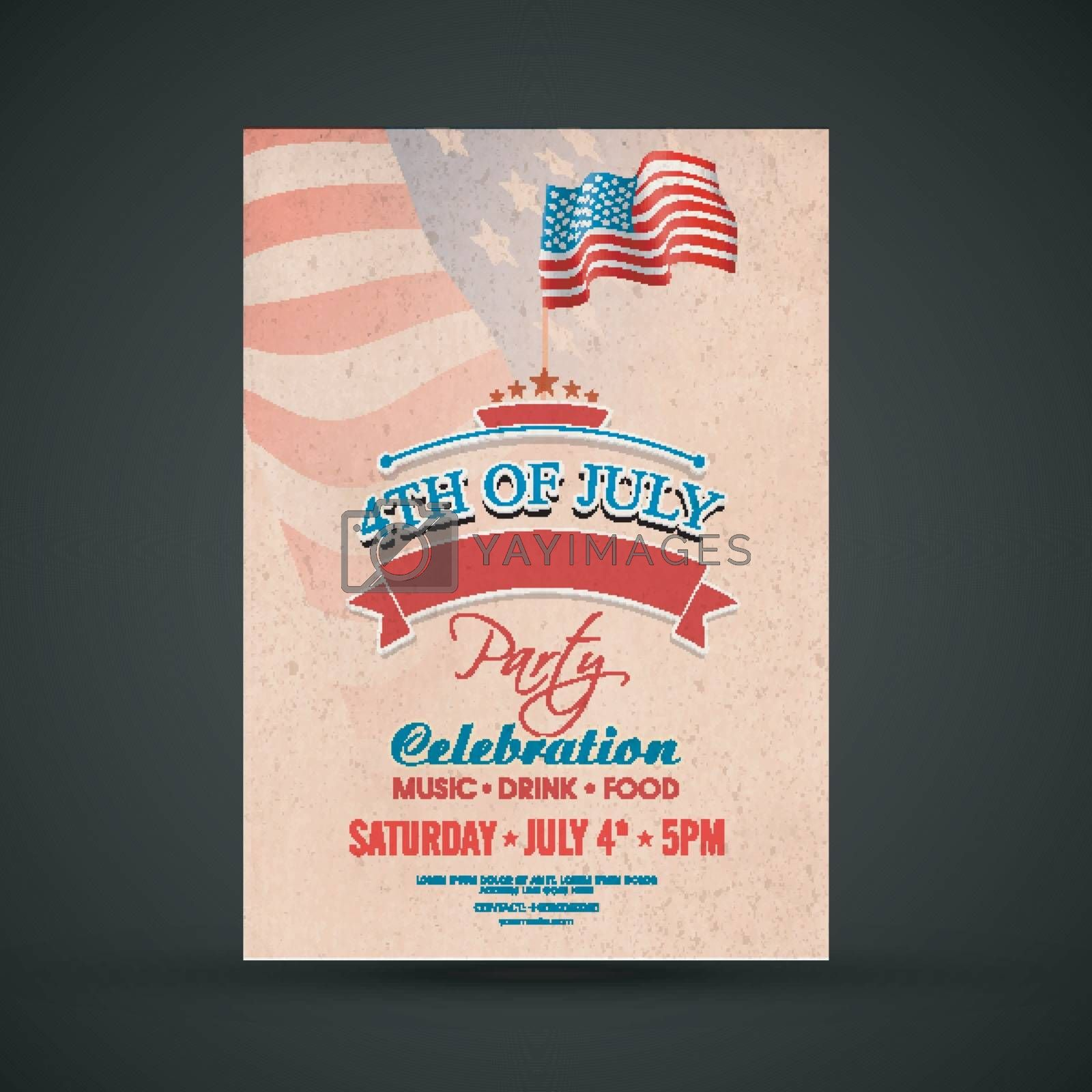 4th of July, American Independence Day Party Flyer Design.