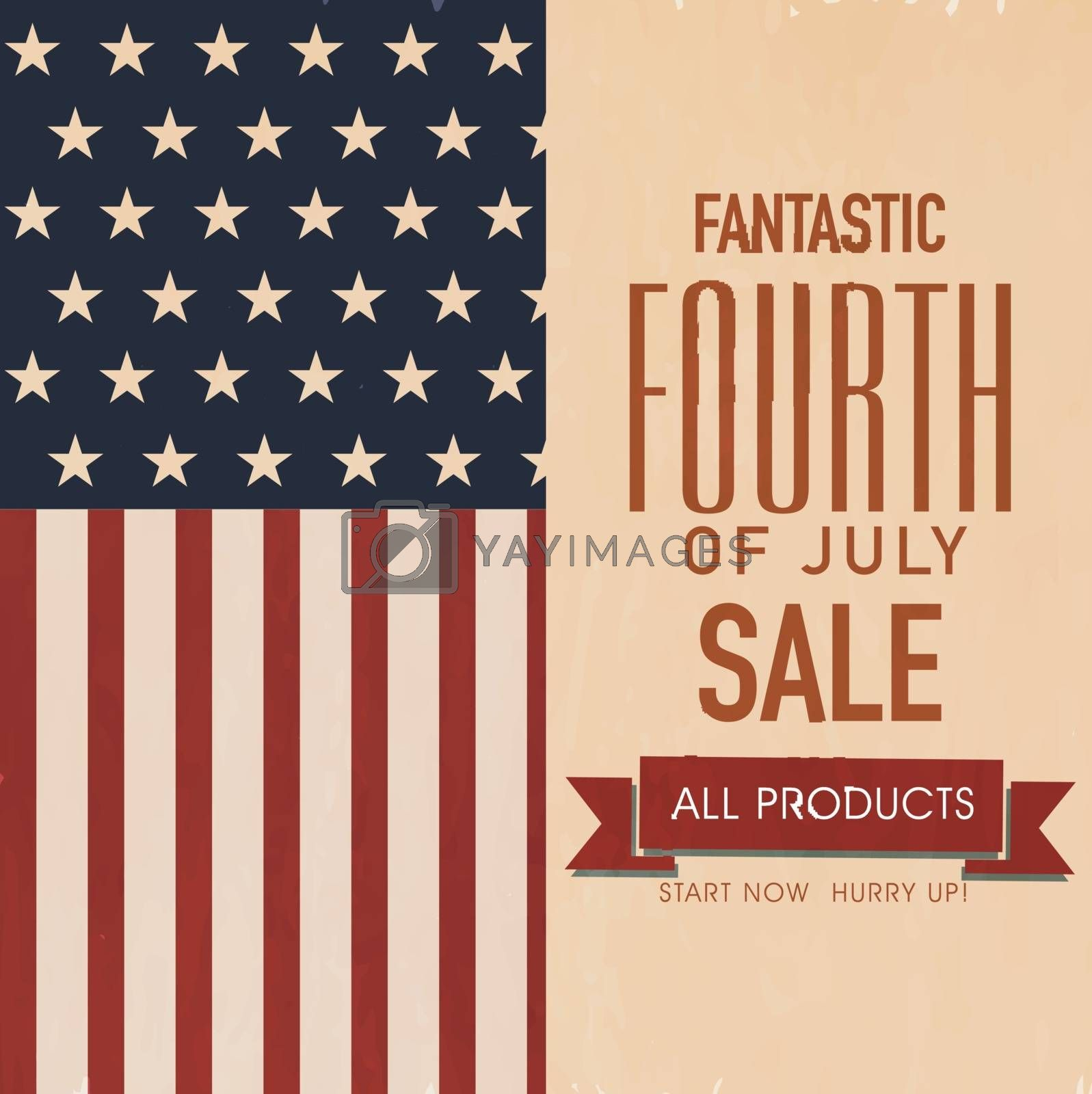 4th of July, American Independence Day Sale  Flyer Design.