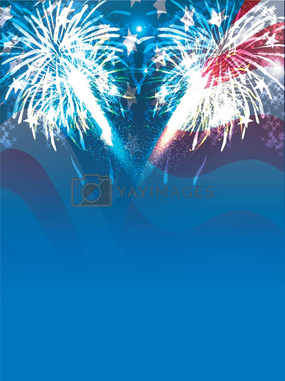 Sparkling firework explosion blue background for 4th of July celebration.