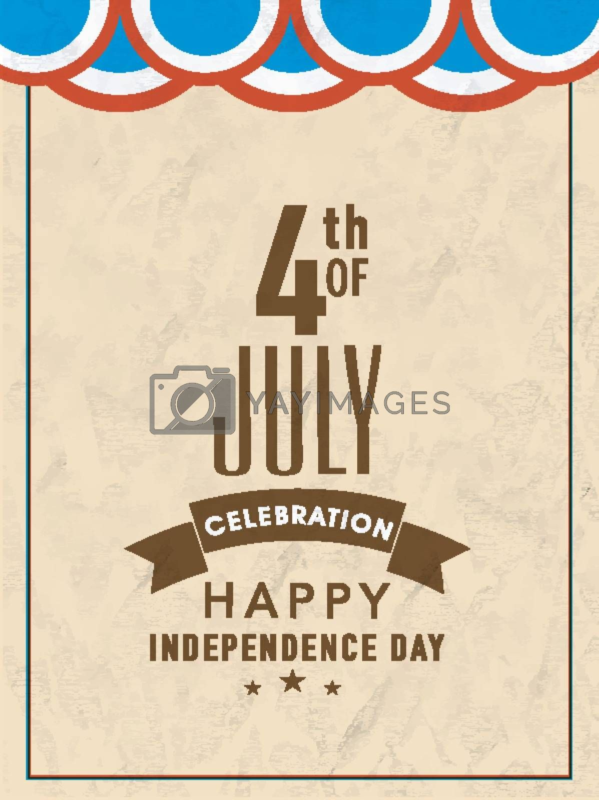 Vintage Template, Banner or Flyer design for 4th of July, Happy American Independence Day celebration.