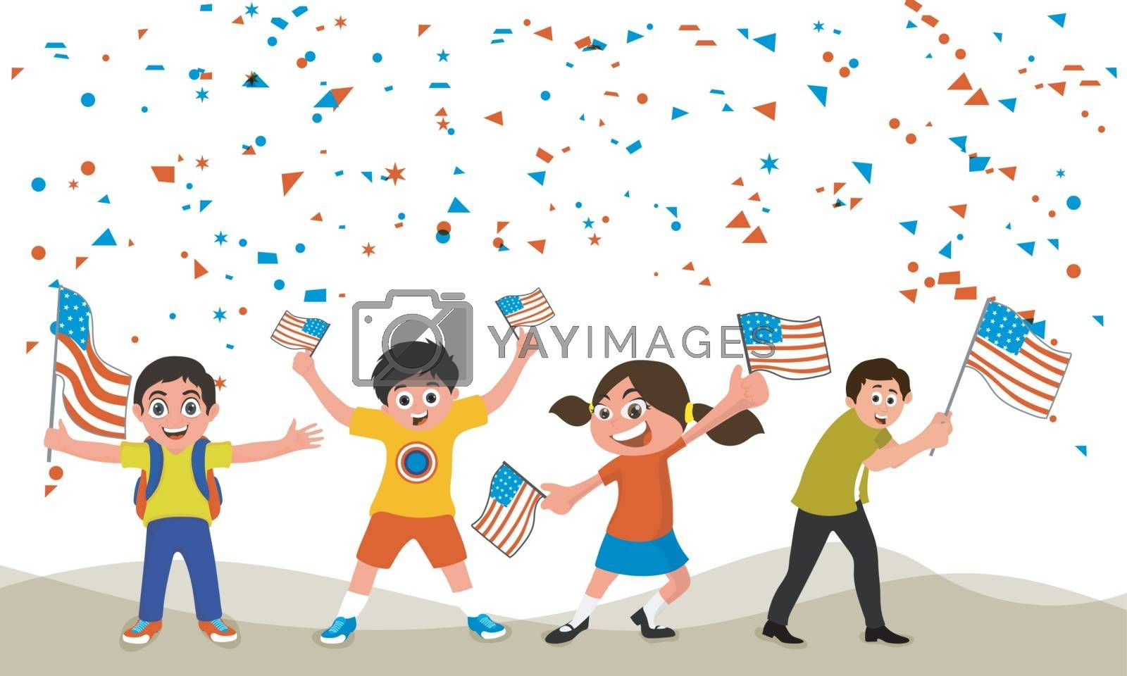 Cute little kids waving American Flags on falling confetti background for 4th of July, Independence Day celebration.