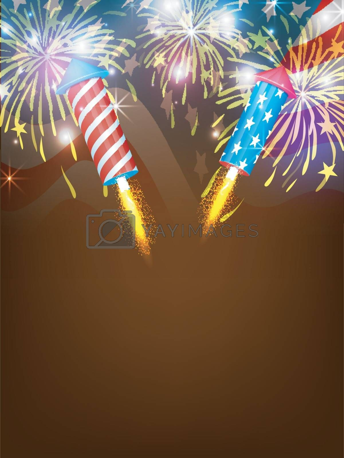 Sparkling fireworks explosion background with American Flag for 4th of July, Independence Day celebration.