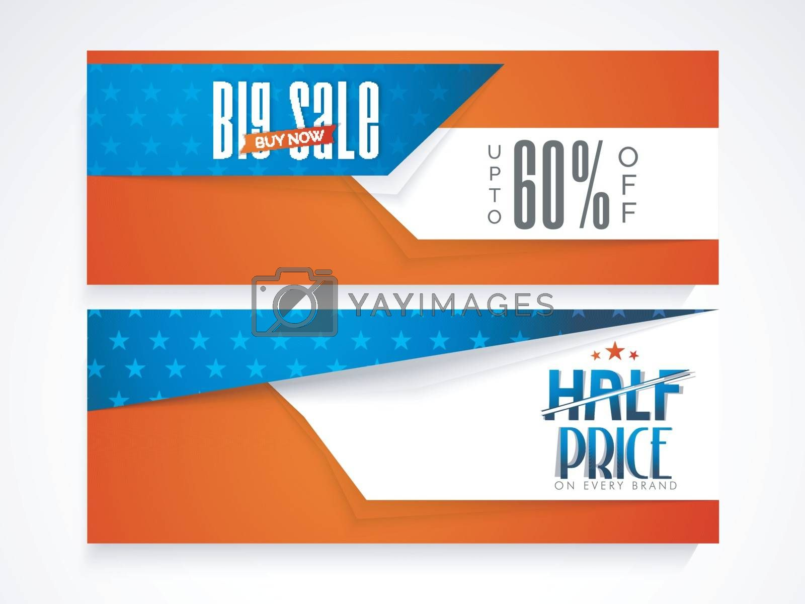 Half Price Big Sale with upto 60% off, American Flag colors website headers set for 4th of July, Independence Day concept.