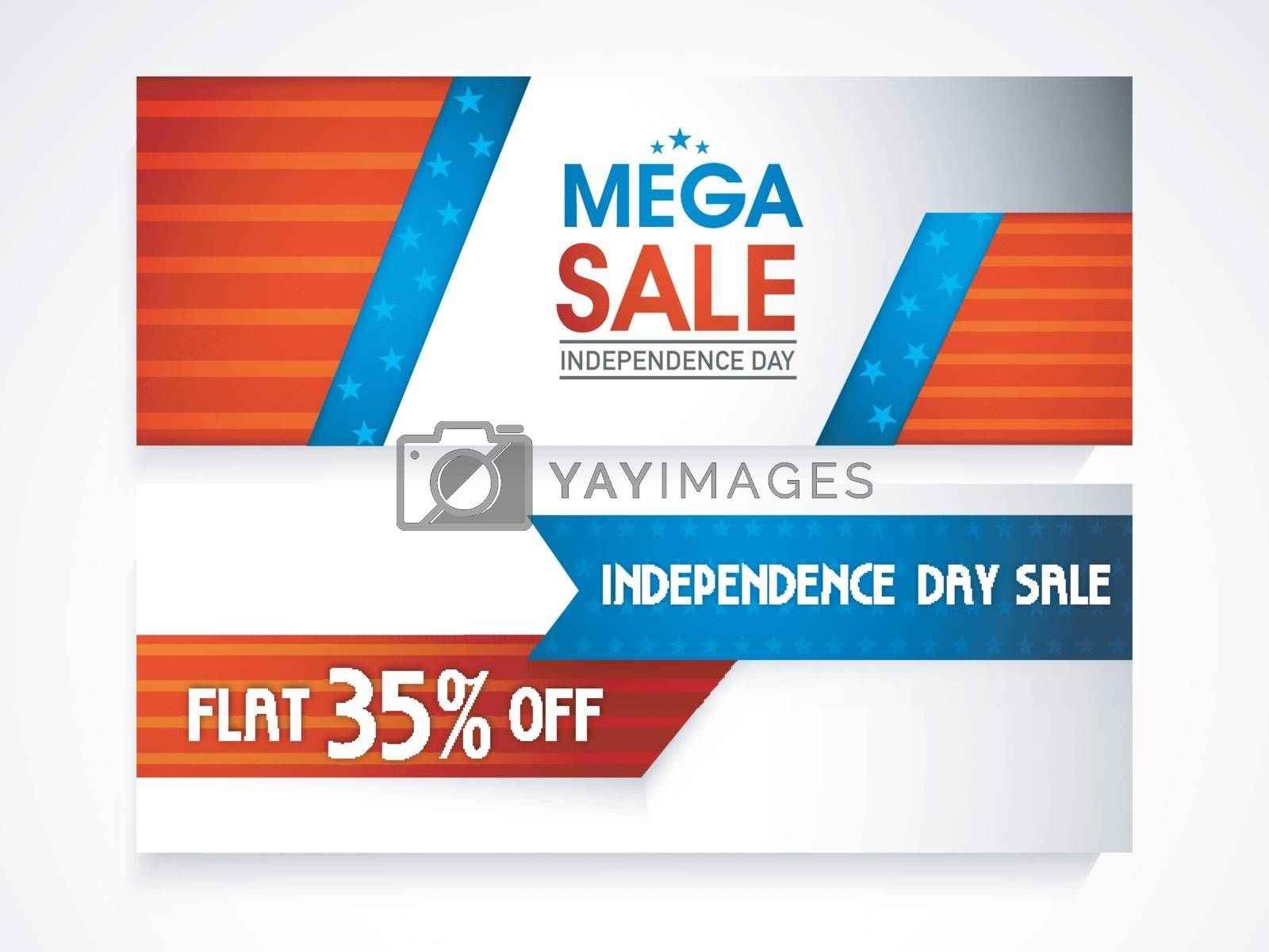 American Independence Day Mega Sale website headers with flat 35% Discount Off.