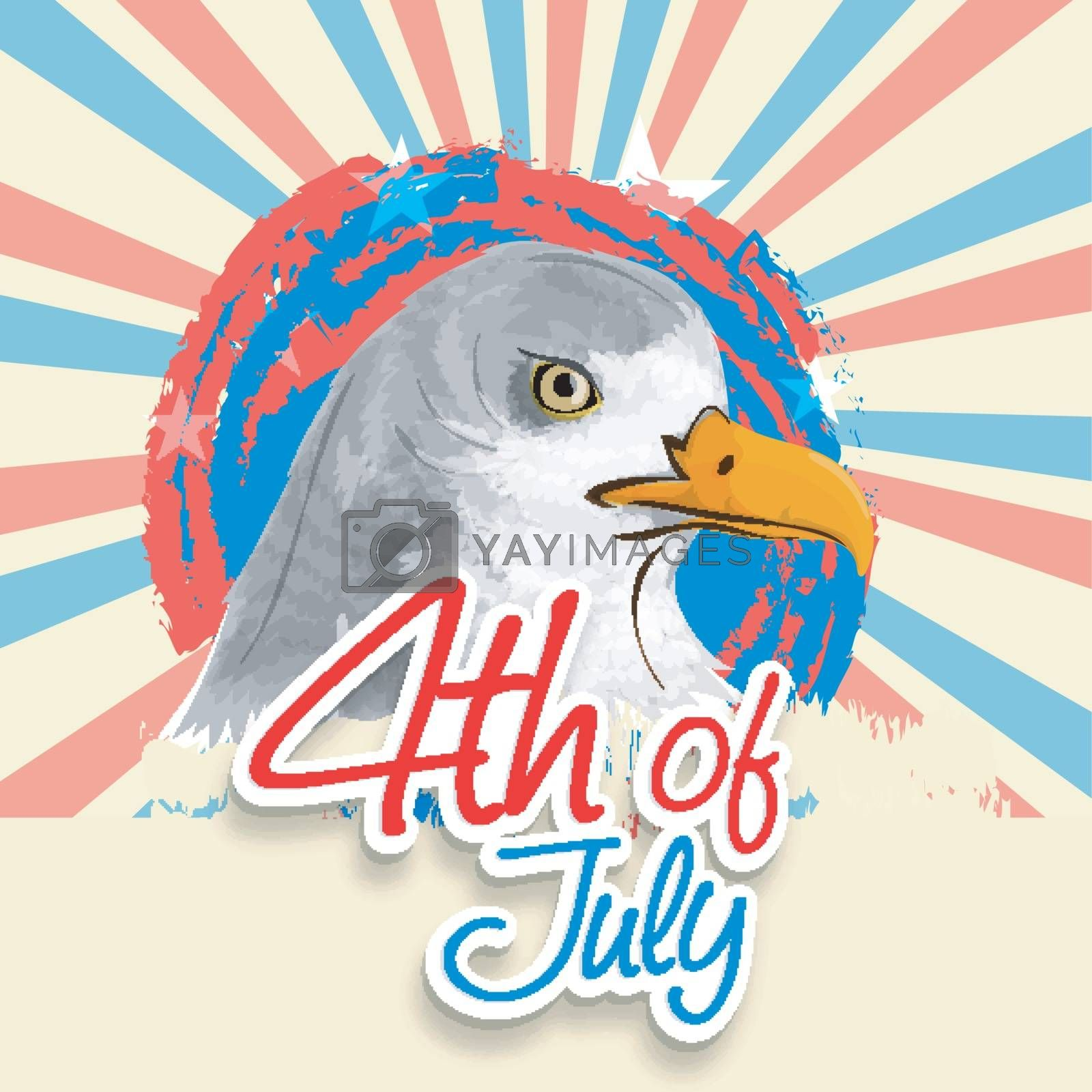 American National Bird Eagle on vintage rays background for 4th of July, Independence Day concept.