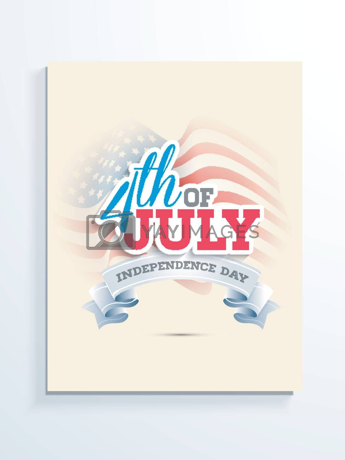 American Flag color text 4th of July with ribbon on wavy flag background. Template, Banner design for Independence Day celebration.