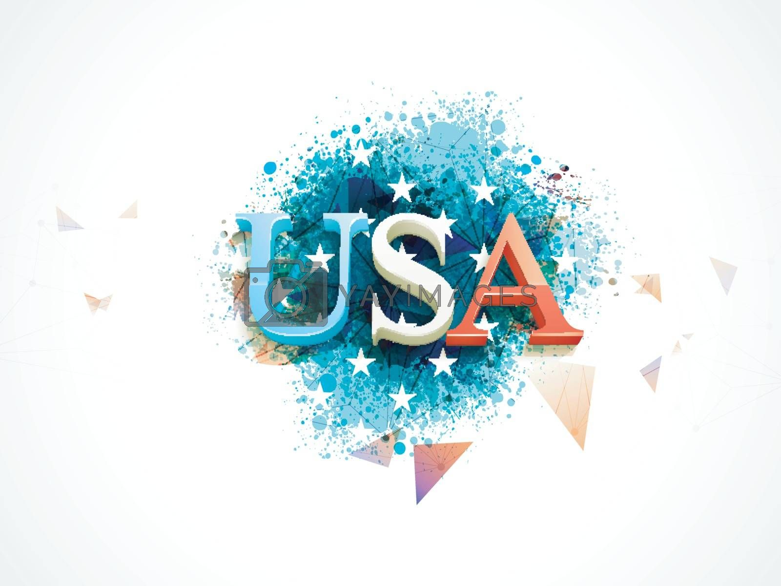 Abstract splash background with USA text design in American Flag colors for 4th of July, Independence Day concept.