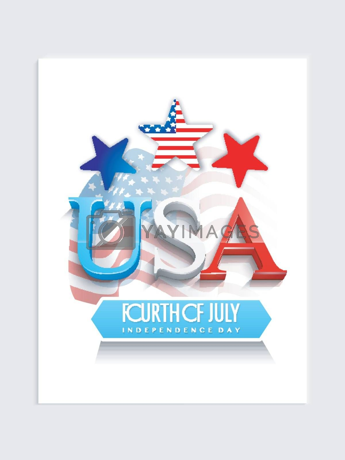 Fourth of July, Independence Day Template, Banner or Flyer with Text USA on Waving American Flag background.