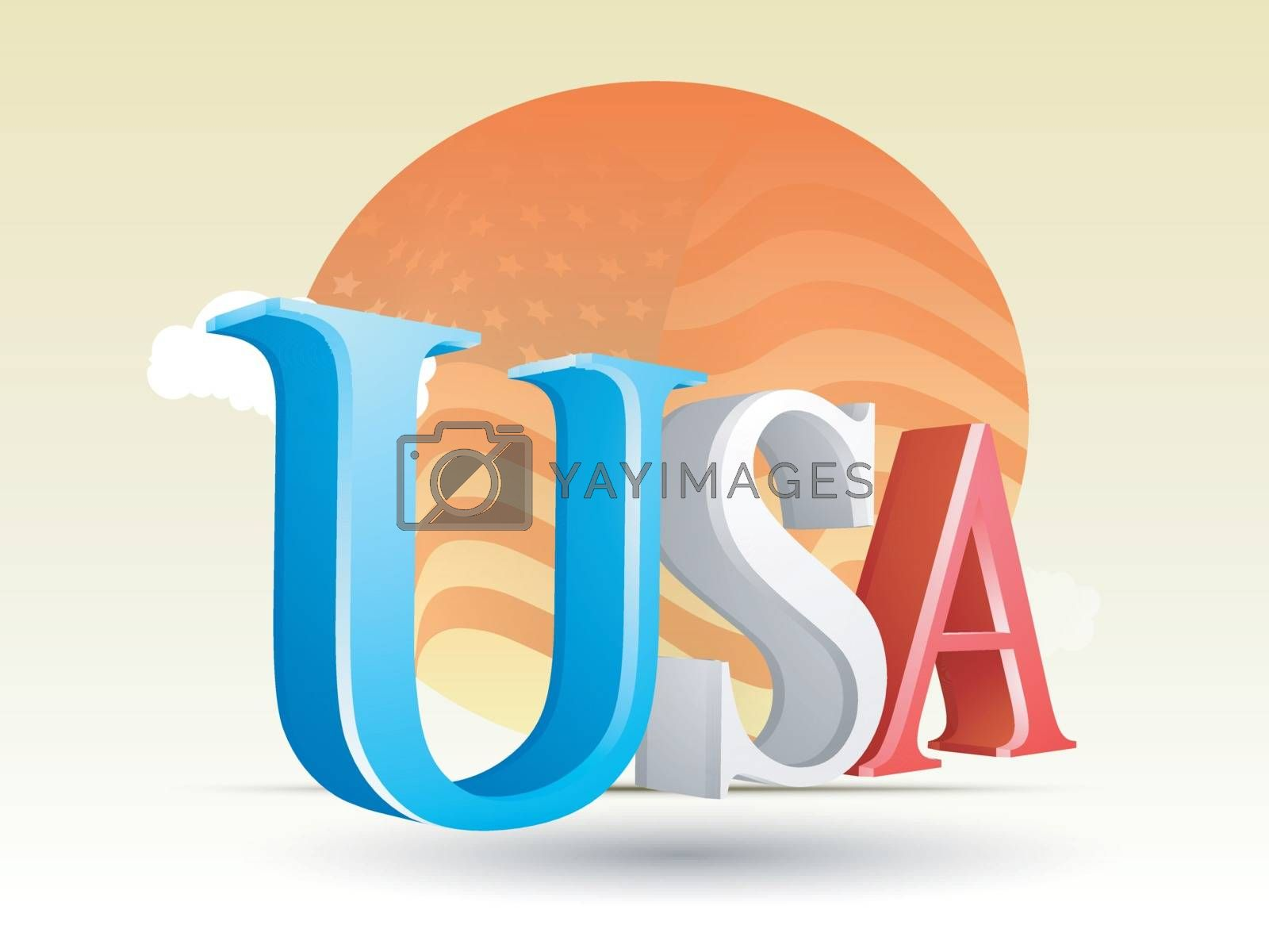 Glossy 3D Text USA in American Flag colors on waving flag background.
