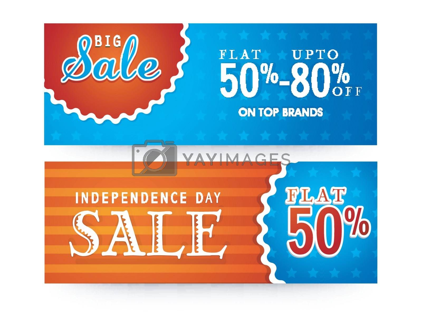Big sale with flat discount offer, Website headers or Banners set for American Independence Day celebration.