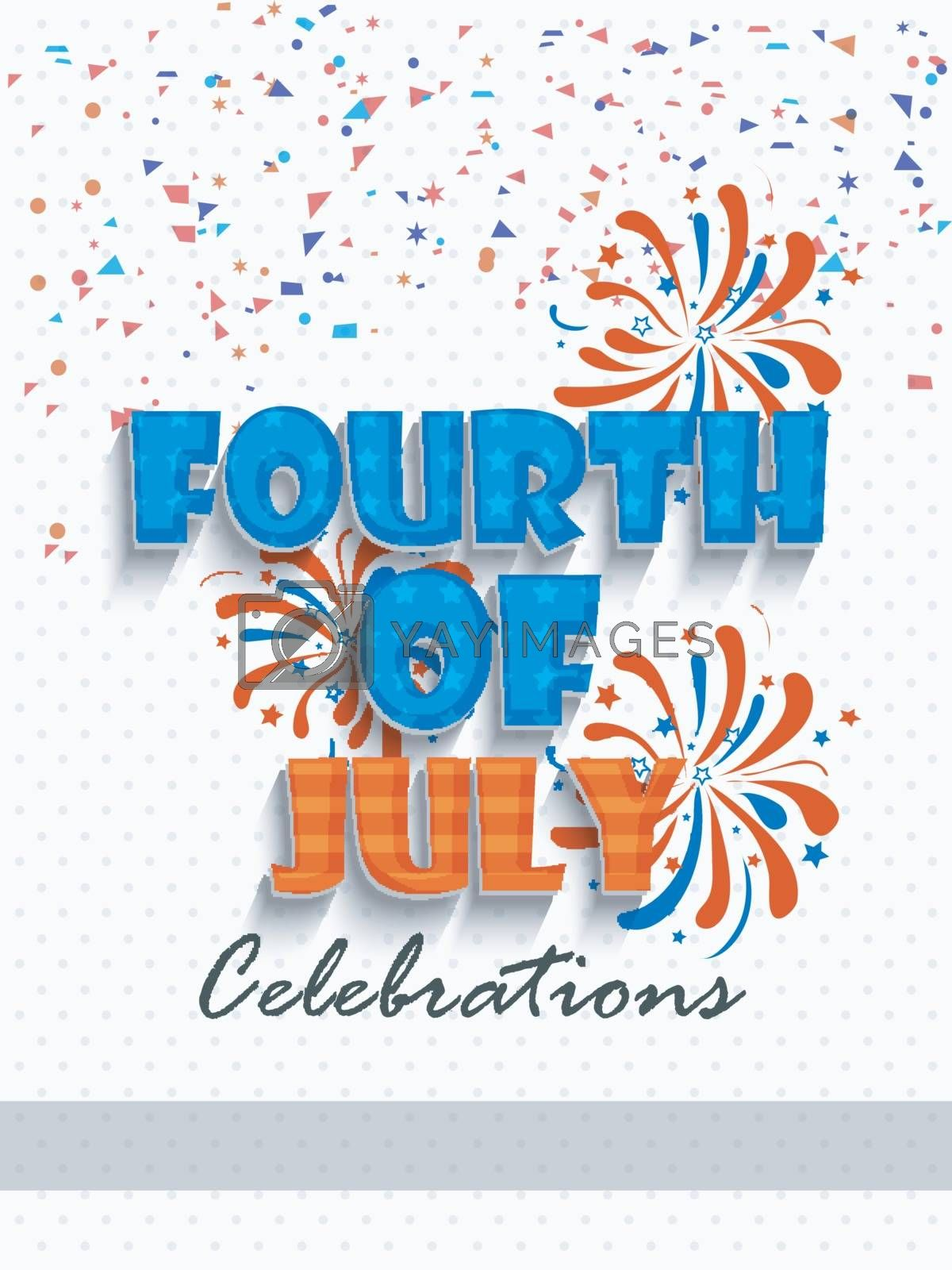 4th july, Independence Day celebration Template, Banner or Flyer design decorated with Flag colors confetti and fireworks.