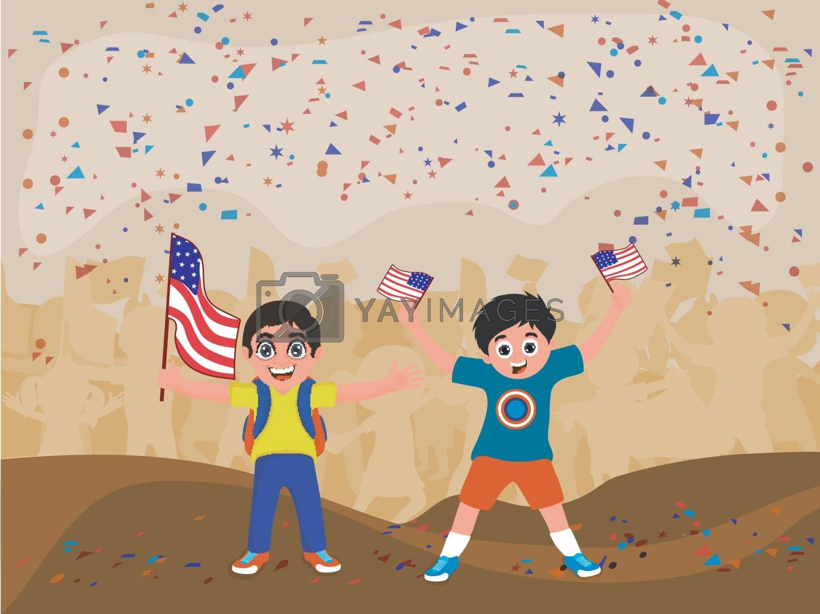 Cute boys holding American flags. by aispl