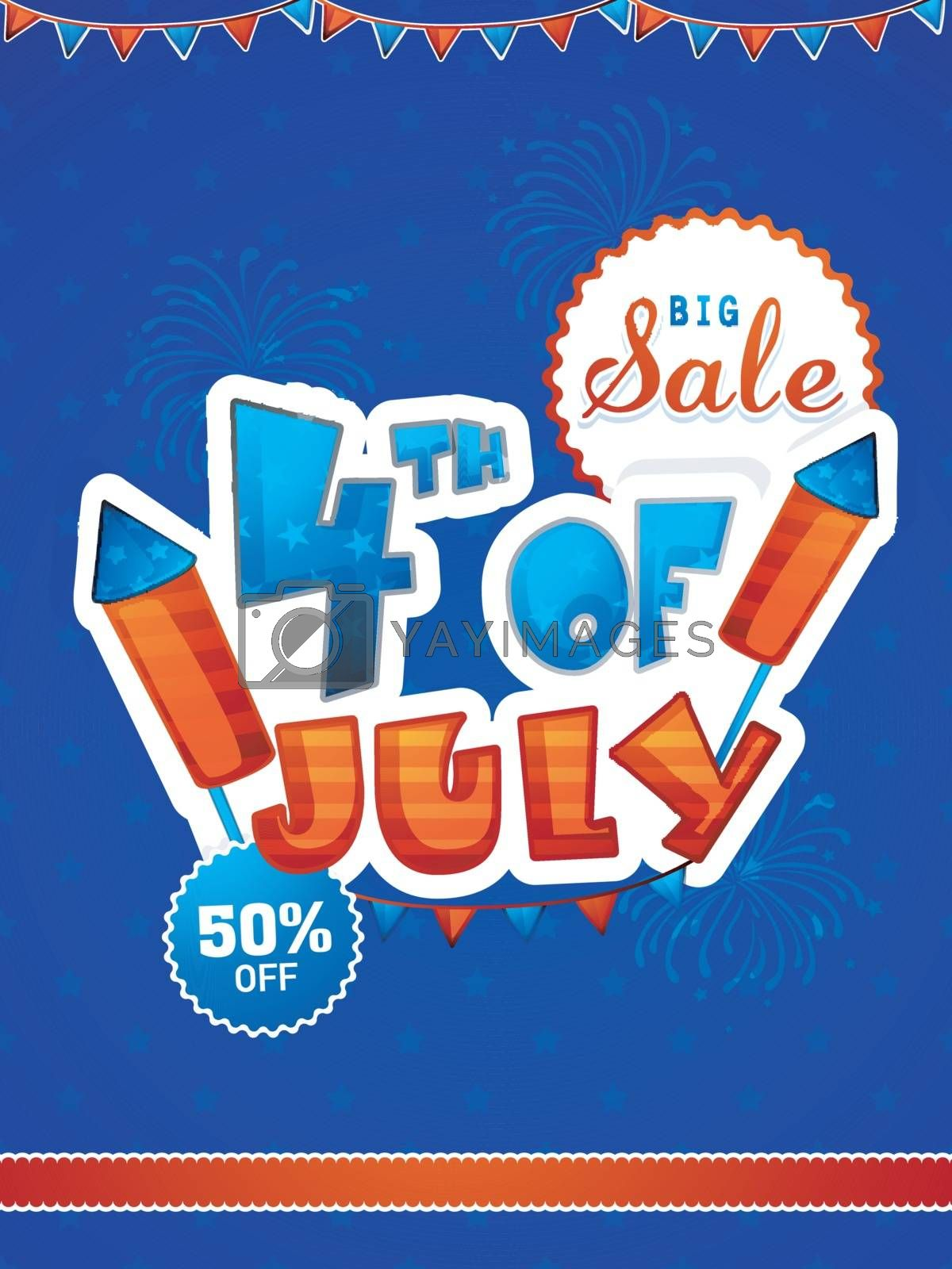Paper Text 4th of July on blue fireworks explosion background. Big Sale Template, Banner or Flyer for American Independence Day.