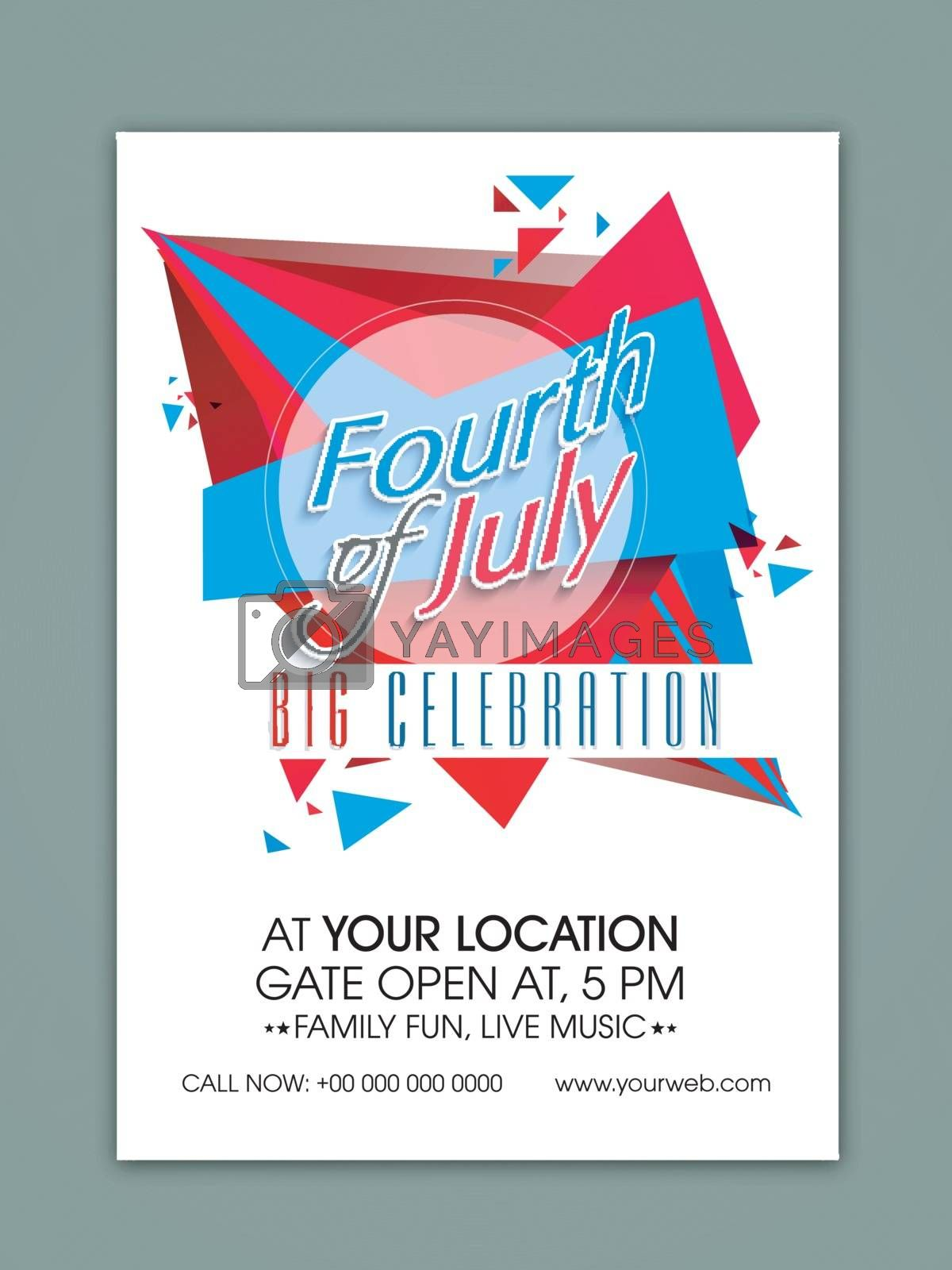 Creative Template, Banner or Flyer design for Fourth of July, American Independence Day celebration.