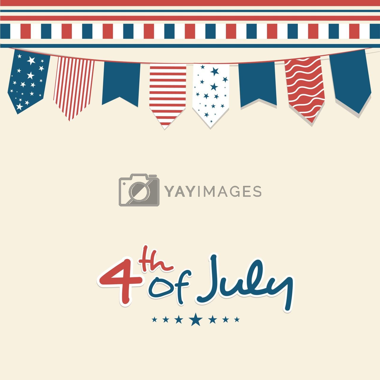 Creative colorful buntings decorated greeting card design for 4th of July, American Independence Day.
