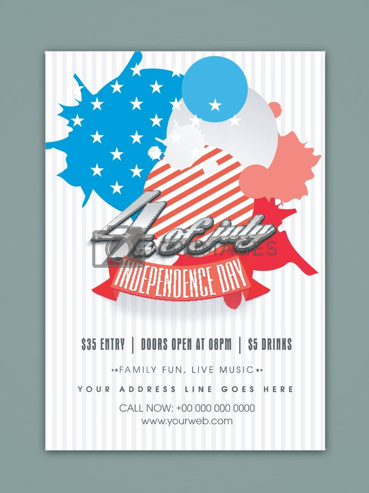 American Flag colors abstract design decorated Template, Banner or Flyer for 4th of July, Independence Day celebration.