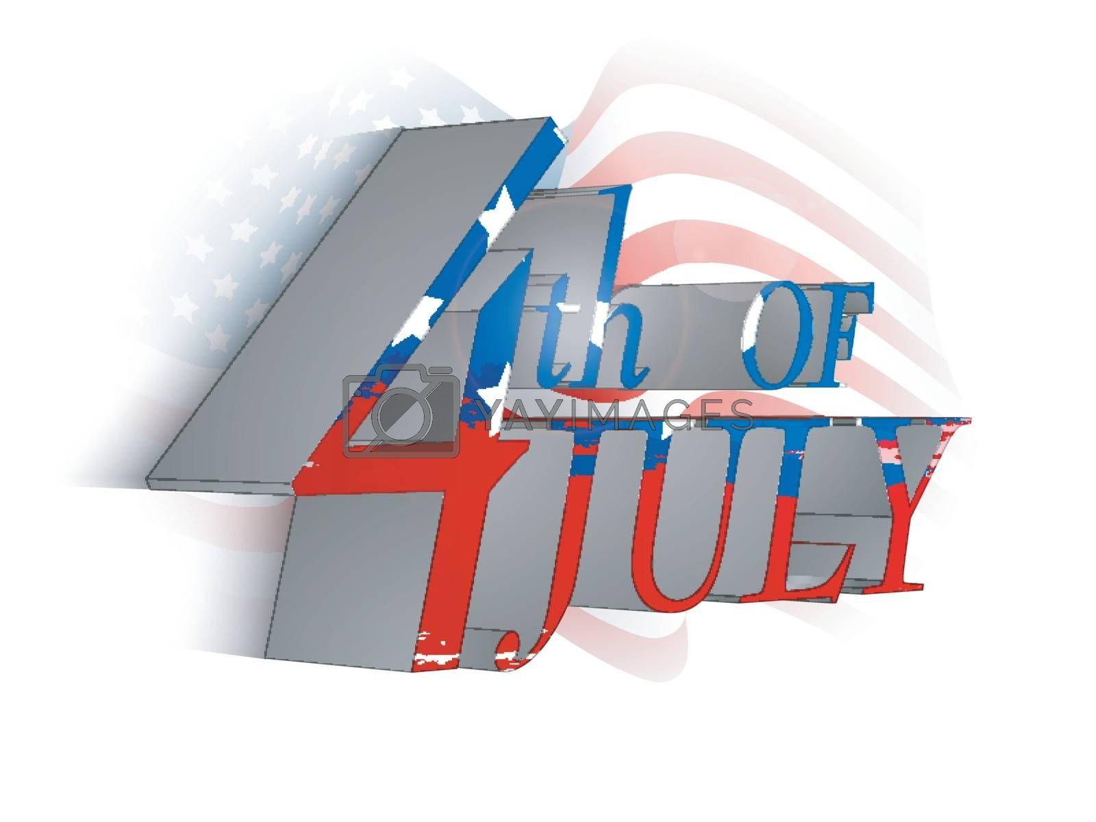 Creative 3D 4th of July Text Design on waving American Flag background for Independence Day celebration.