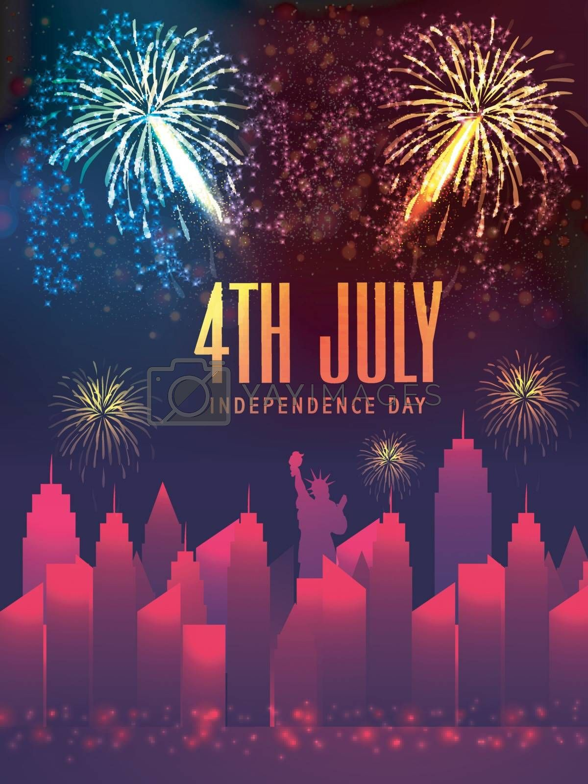 Template, Banner or Flyer design with city view and firework explosion for 4th of July, American Independence Day celebration.